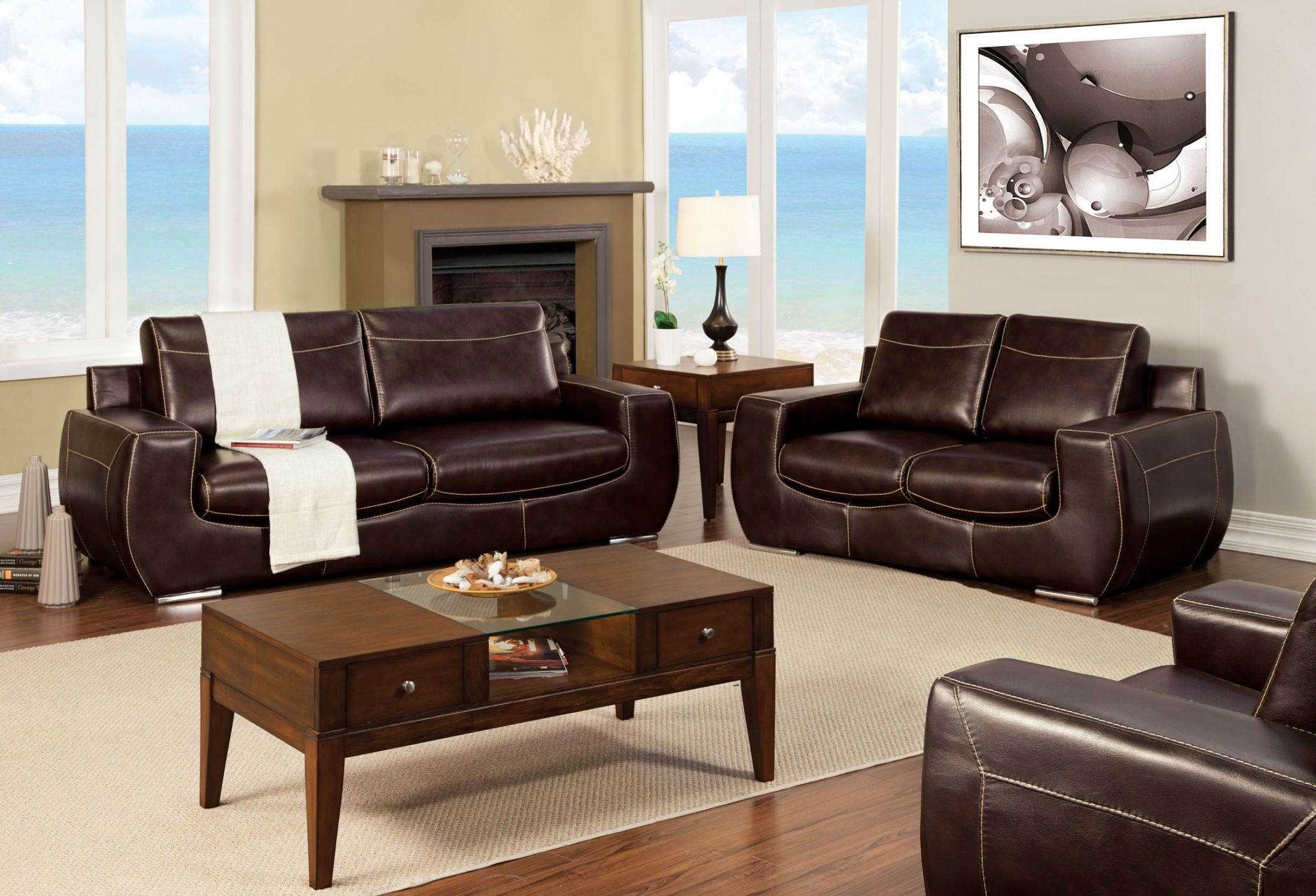 Tekir espresso living room set from furniture of america for M s living room furniture
