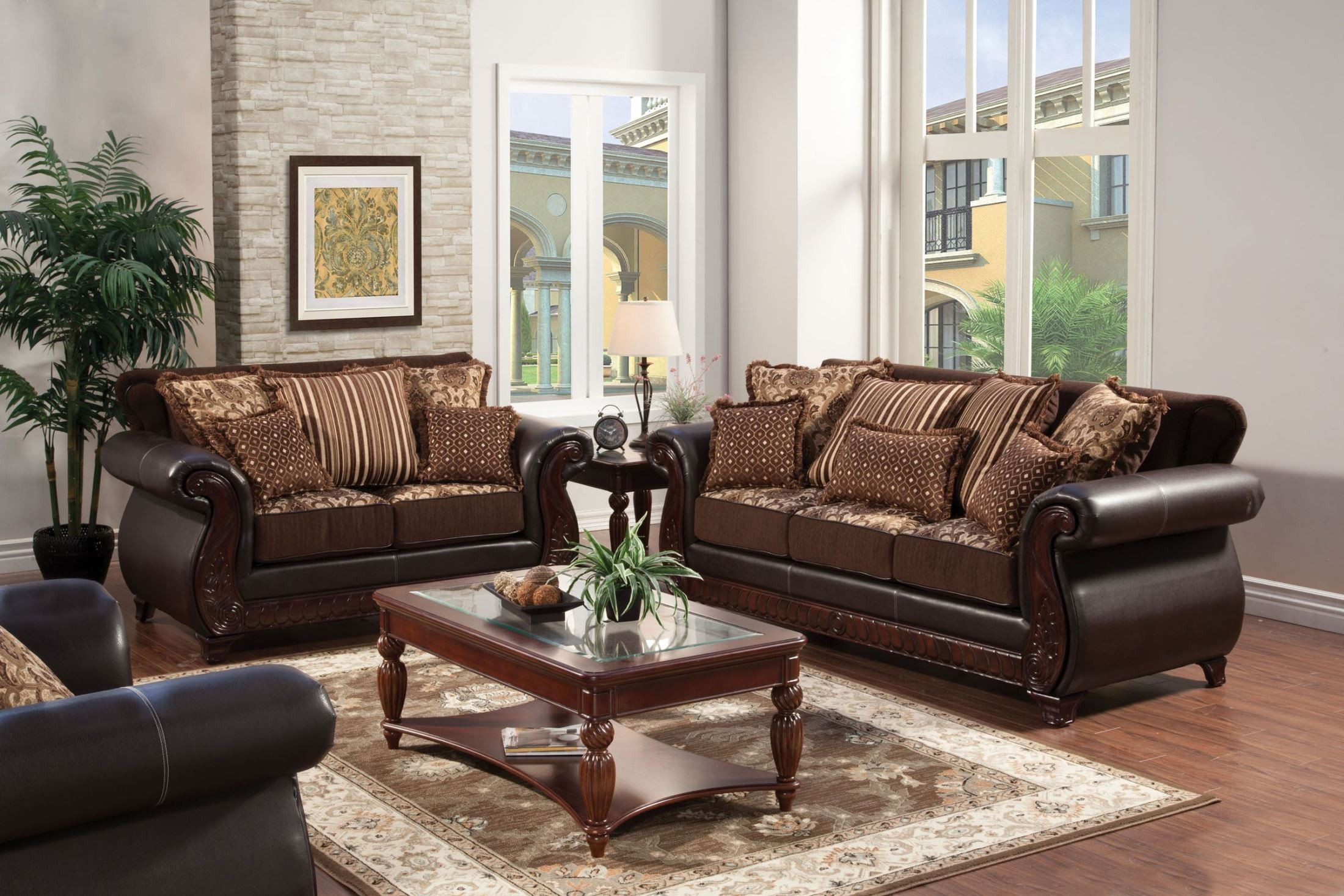 Franklin dark brown fabric and leatherette living room set for M s living room furniture