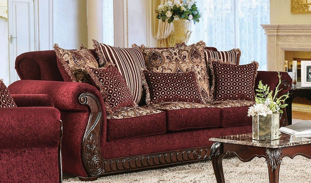 Tabitha Wine Living Room Set From Furniture Of America