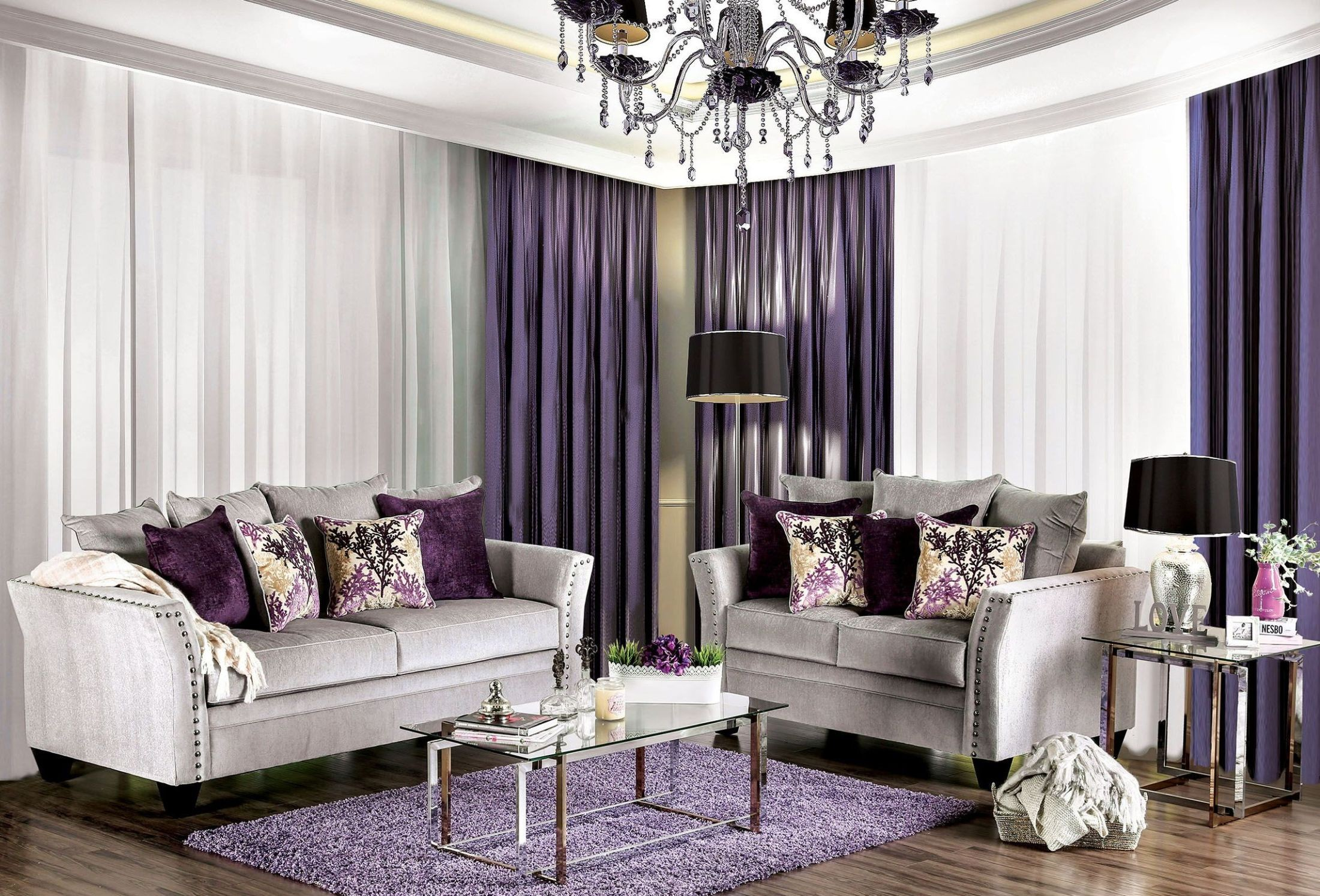 Oliviera silver living room set from furniture of america coleman furniture - Silver living room furniture ...