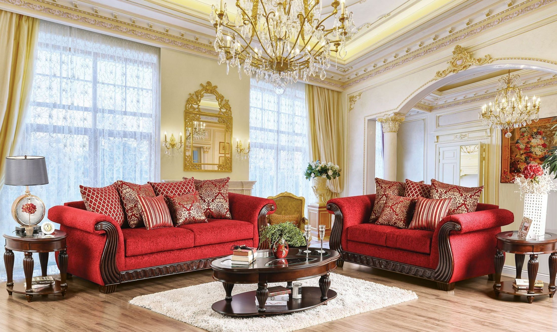 Corinna Ruby Red Living Room Set from Furniture of America ...