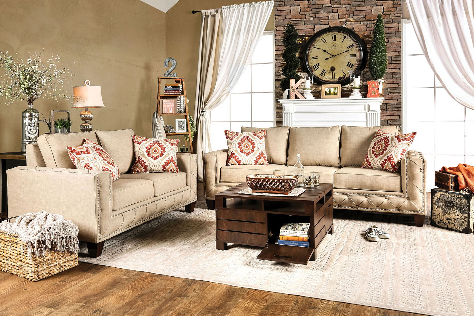 norwick beige living room set from furniture of america