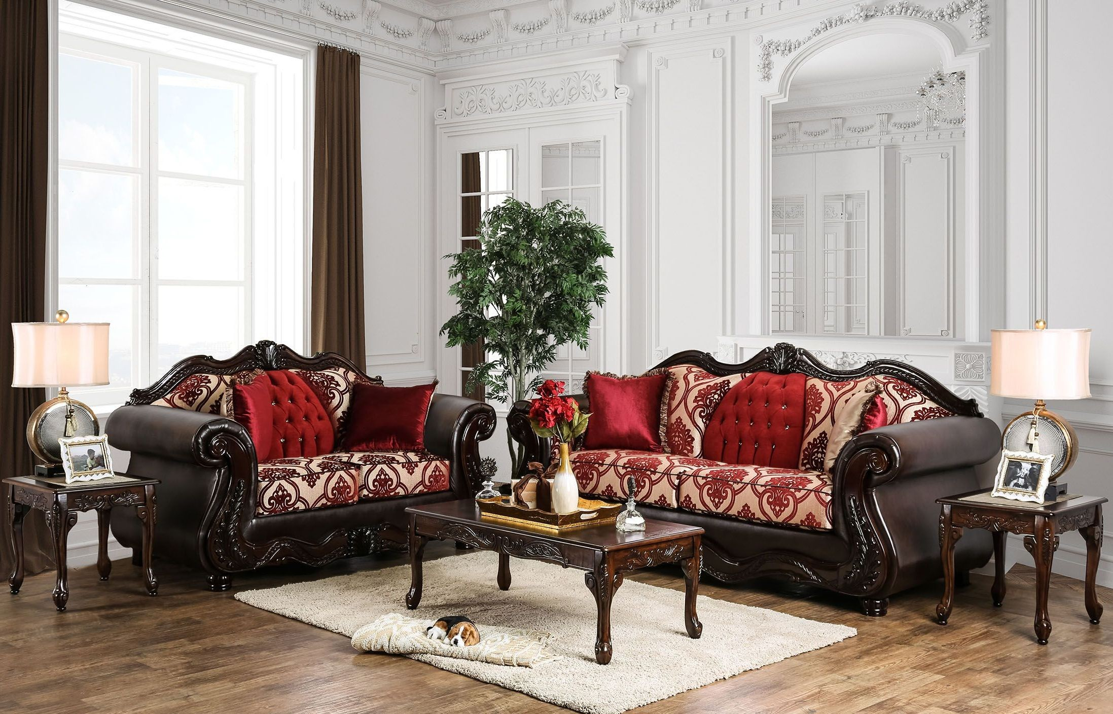 wilford burgundy upholstered living room set from furniture of america coleman furniture