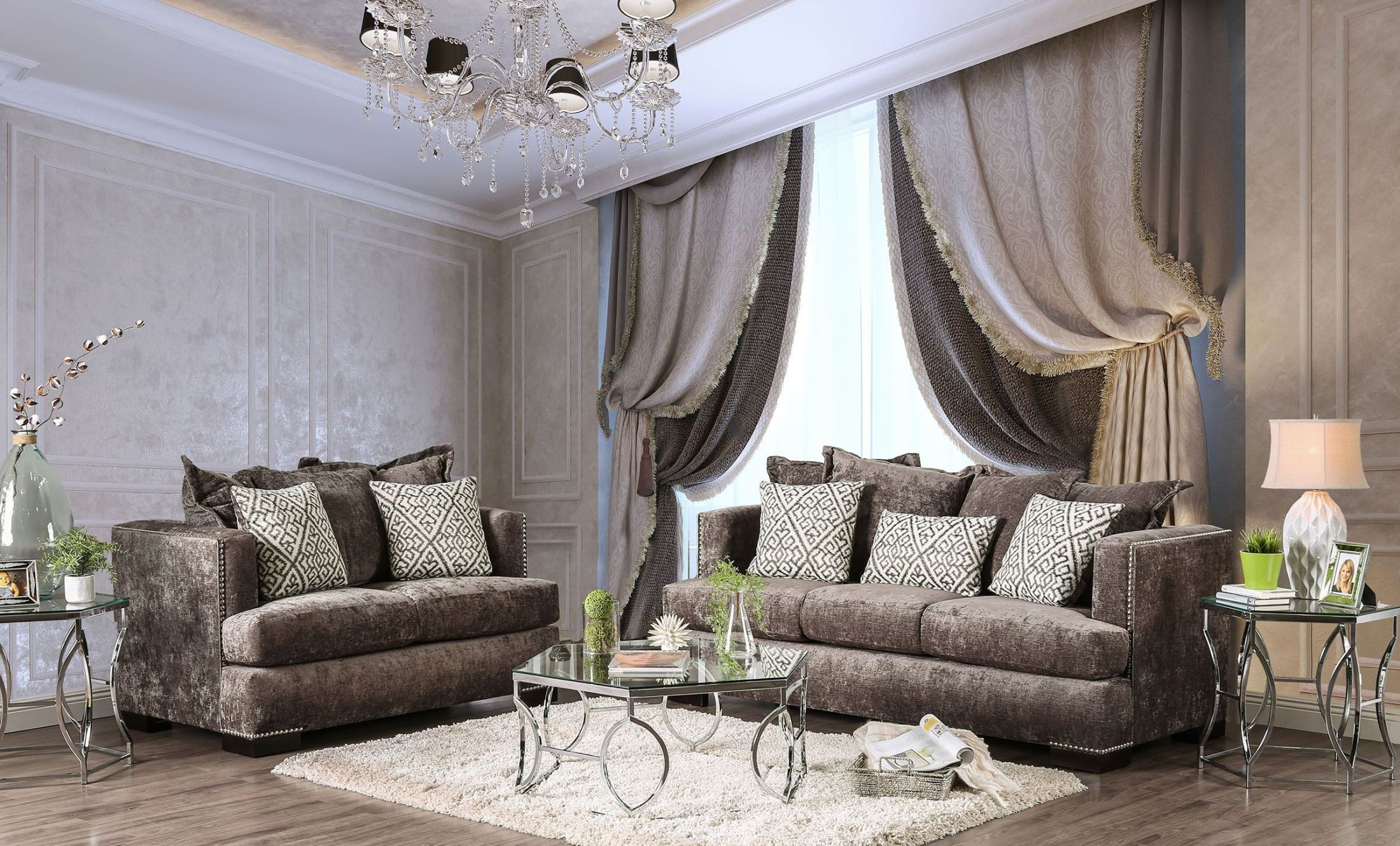 Maisie silver living room set from furniture of america coleman furniture - Silver living room furniture ...