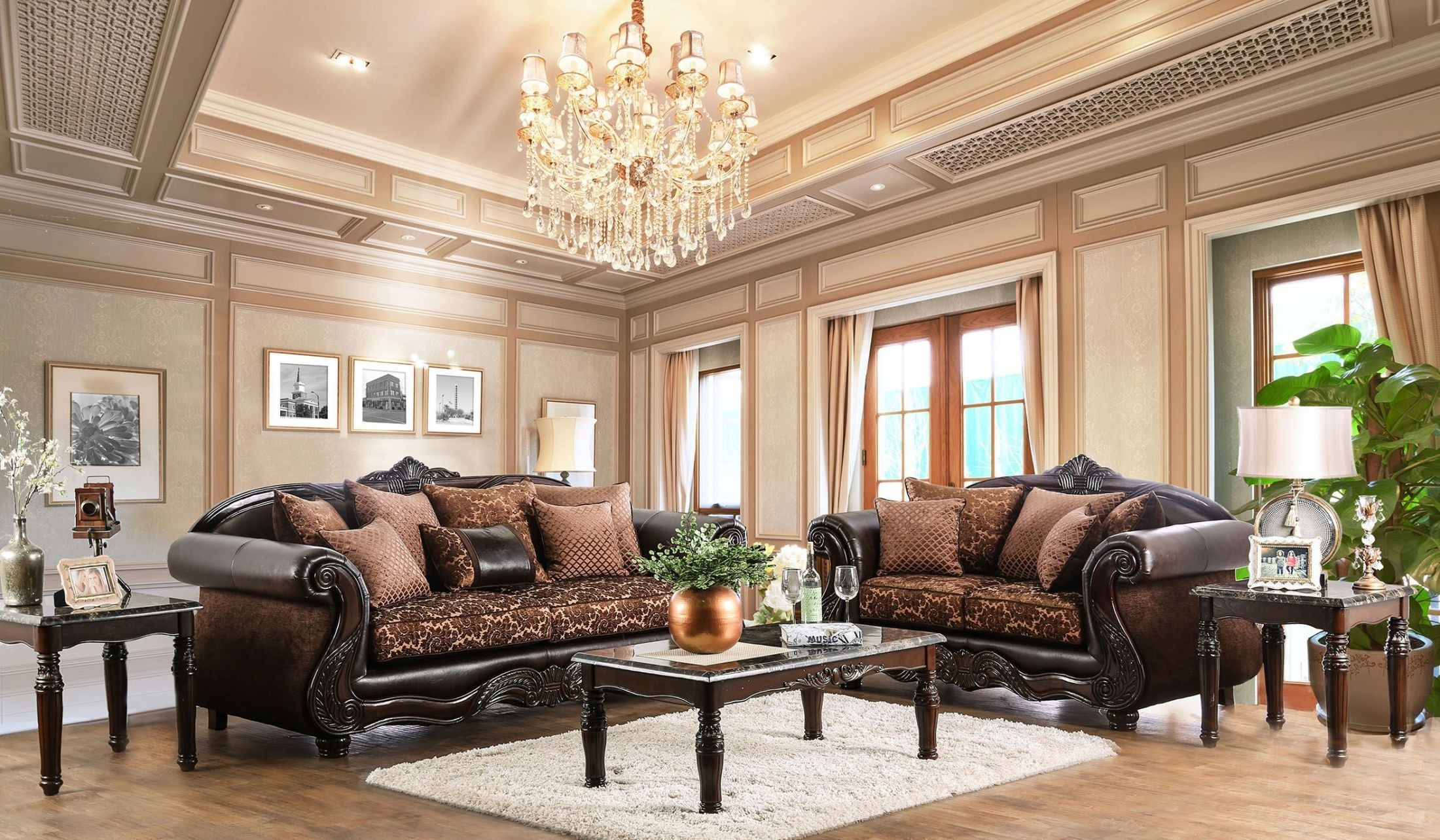 brown living room elpis brown living room set from furniture of america 10073