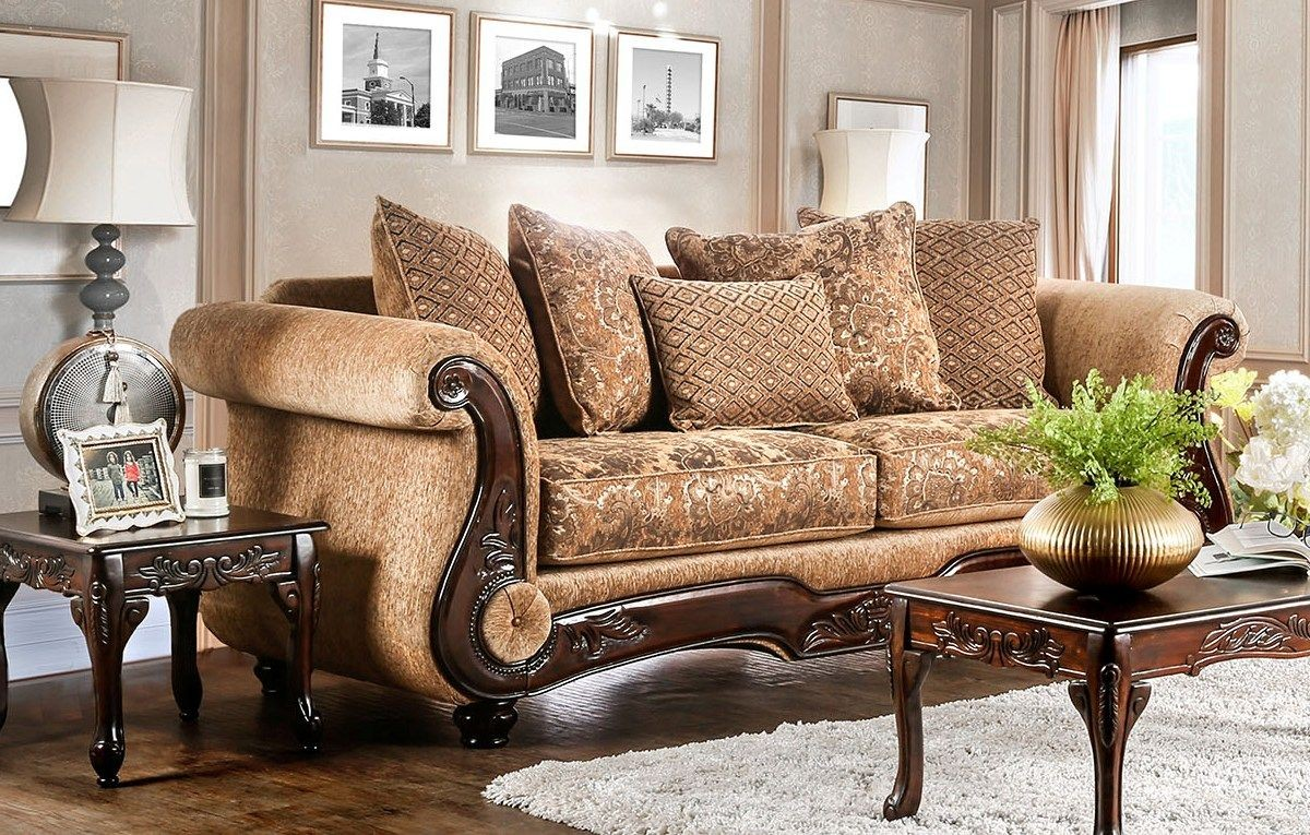 brown gold living room nicanor and gold sofa from furniture of america 14185