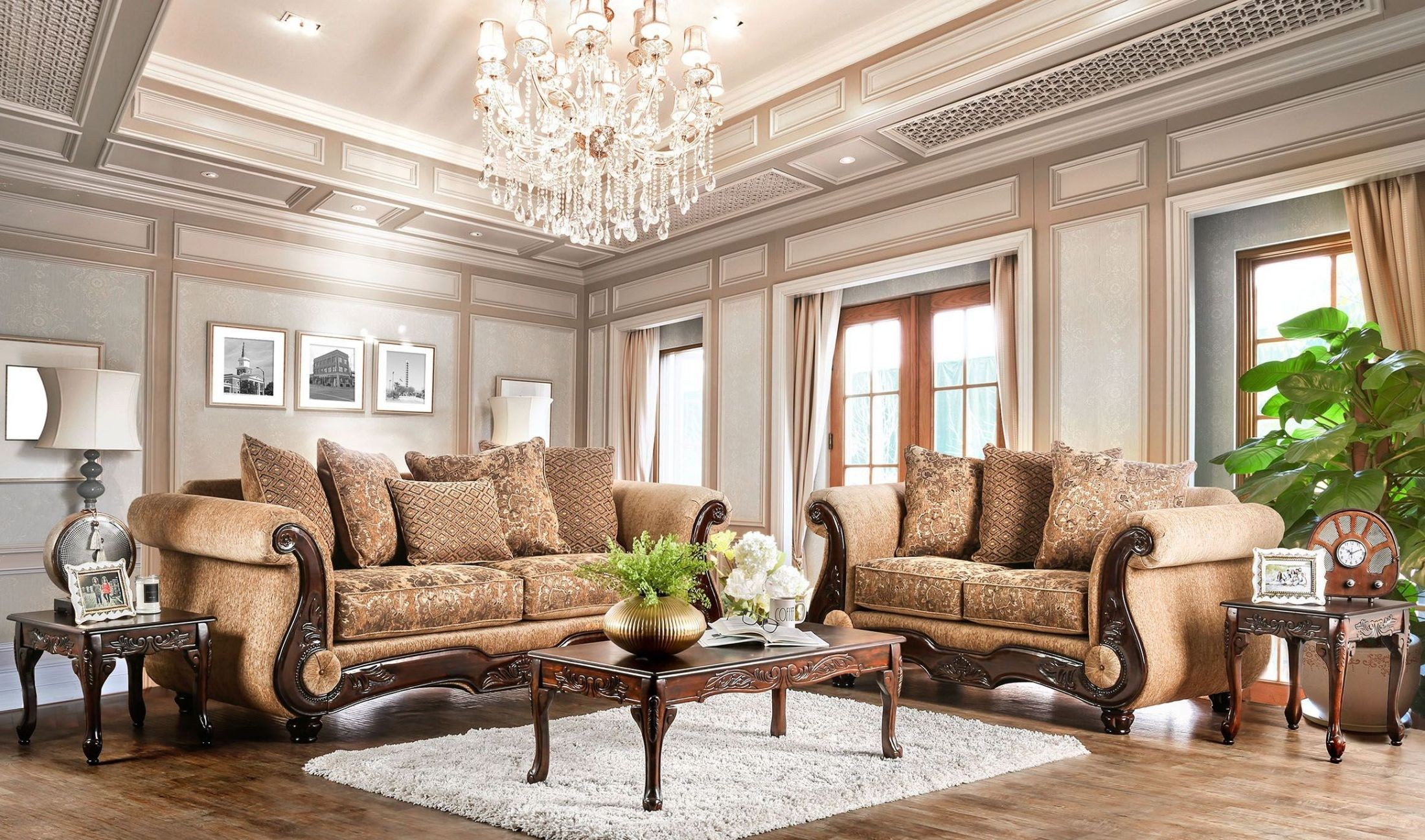 gold couch living room nicanor and gold living room set from furniture of 15148