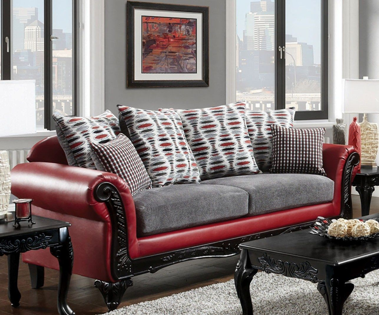 Myron Red And Light Gray Living Room Set From Furniture Of America Coleman Furniture