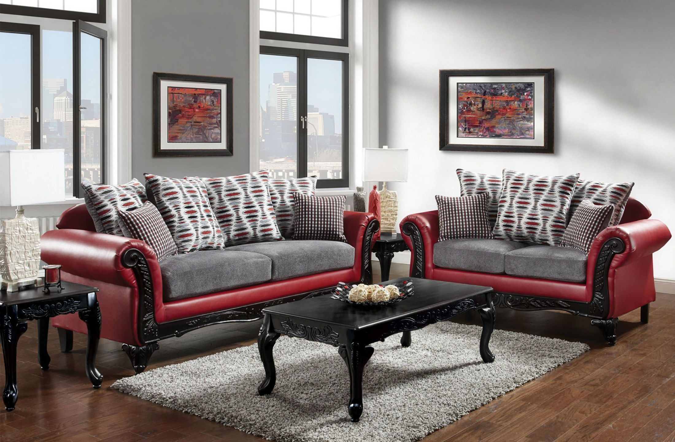 myron red and light gray living room set from furniture of america coleman furniture. Black Bedroom Furniture Sets. Home Design Ideas