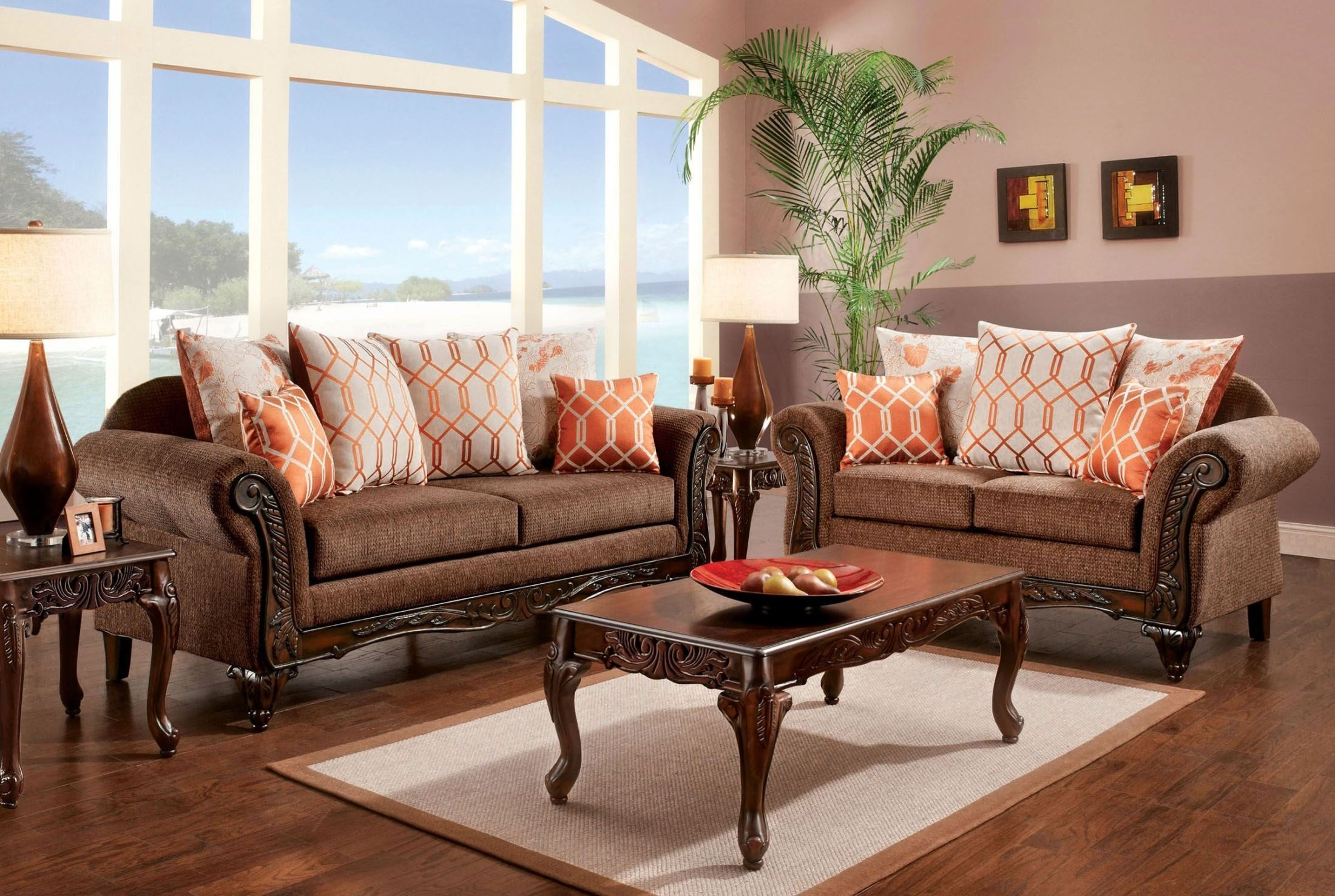 Bechet brown living room set from furniture of america for Sm living room furnitures