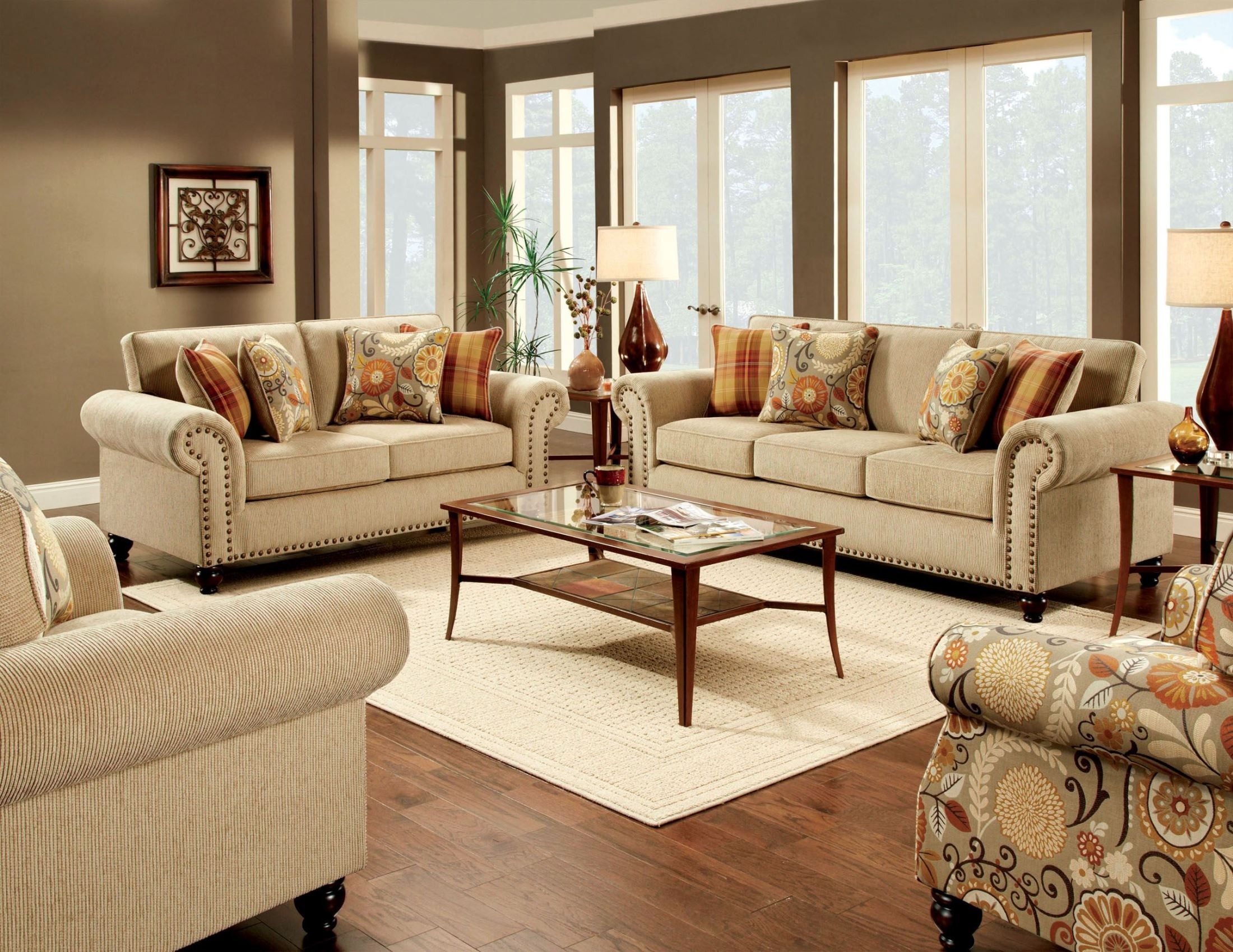 Rollins tan living room set from furniture of america for Furnishing america
