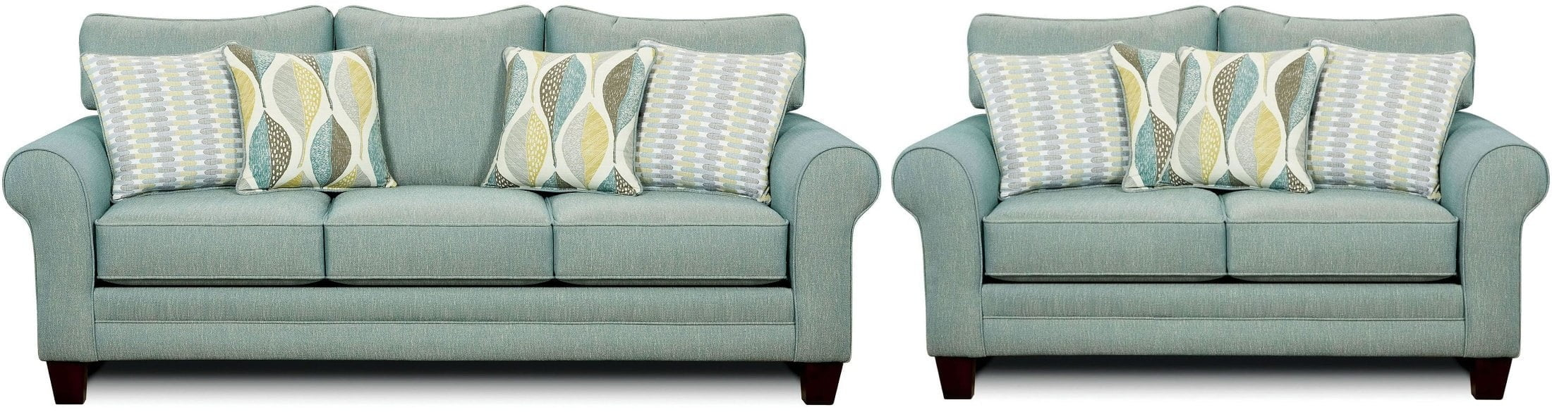 Brubeck soft teal living room set from furniture of for Living room furniture sets made in usa