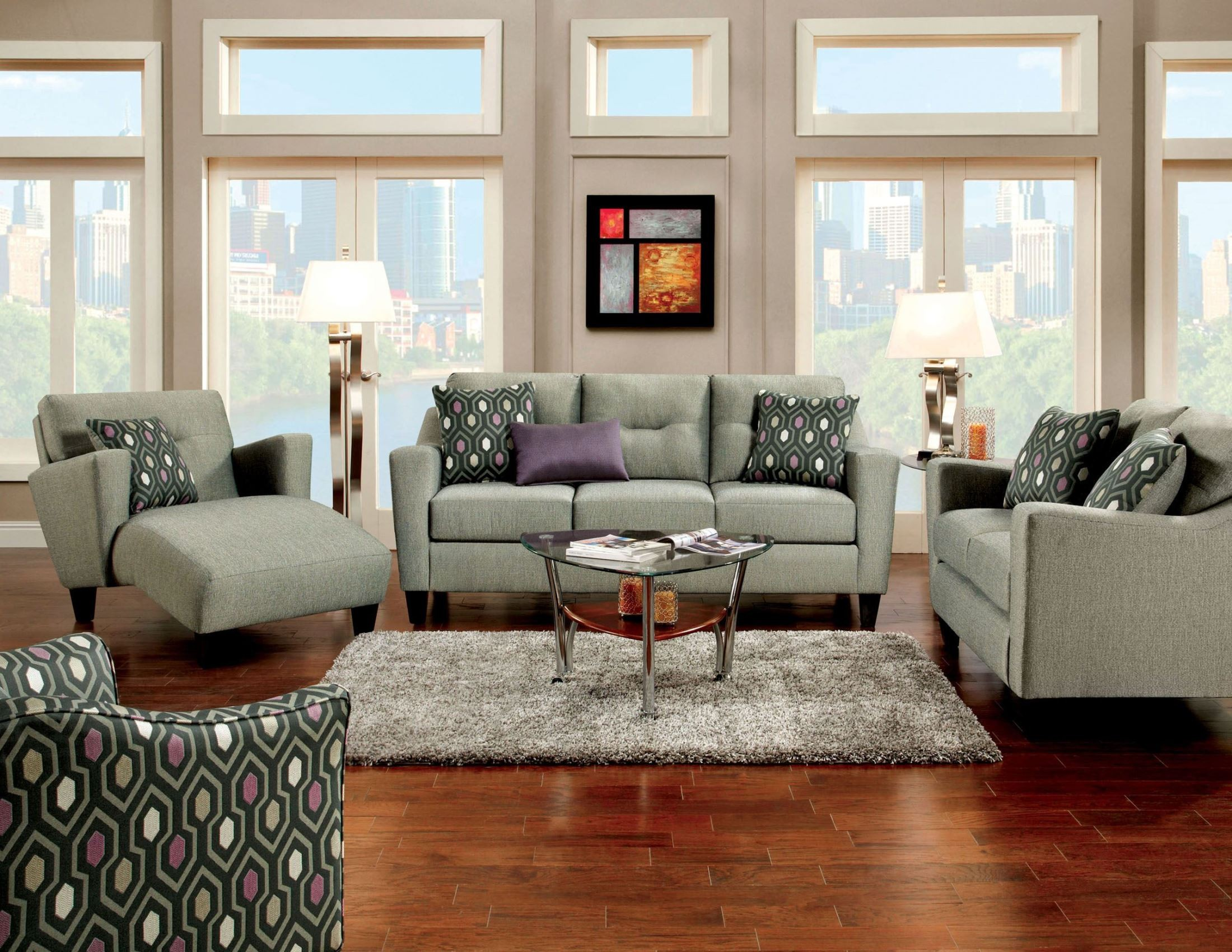 Coltrane gray fabric living room set from furniture of for Living room furniture sets made in usa