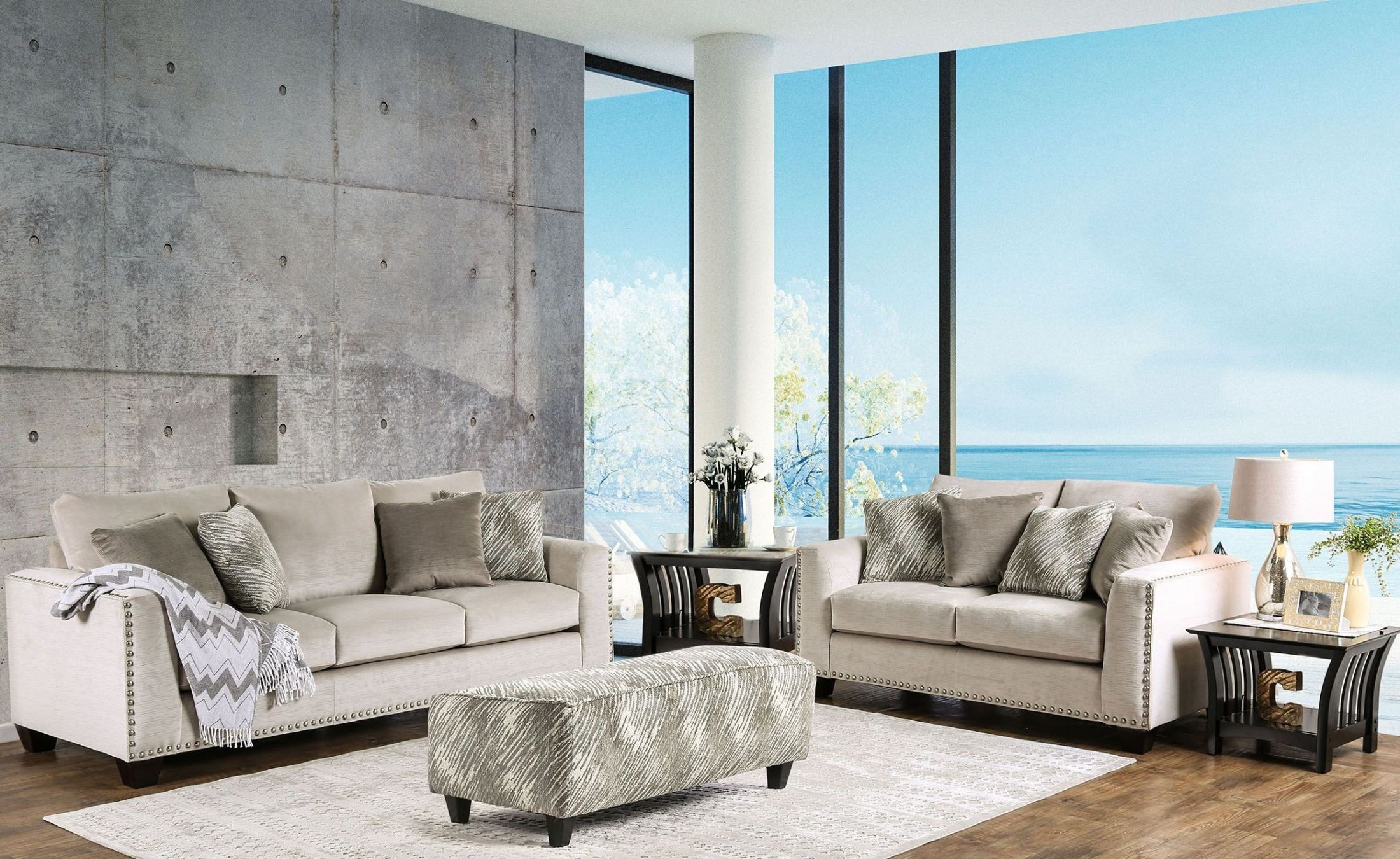 Stefano Light Mocha Upholstered Living Room Set From Furniture Of America Coleman Furniture