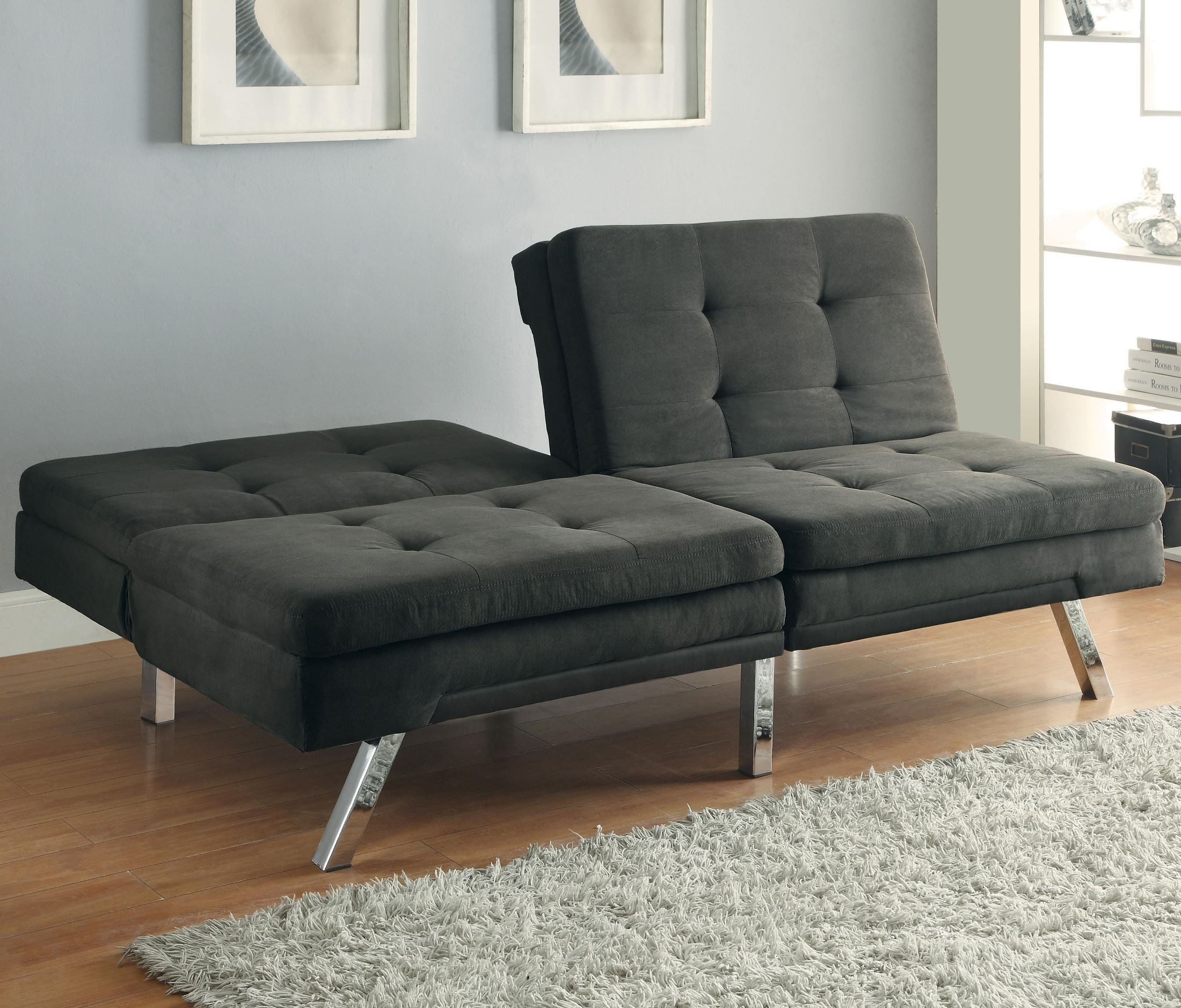 Microfiber Sofa Beds: 300213 Charcoal Microfiber Split Back Tufted Sofa Bed From