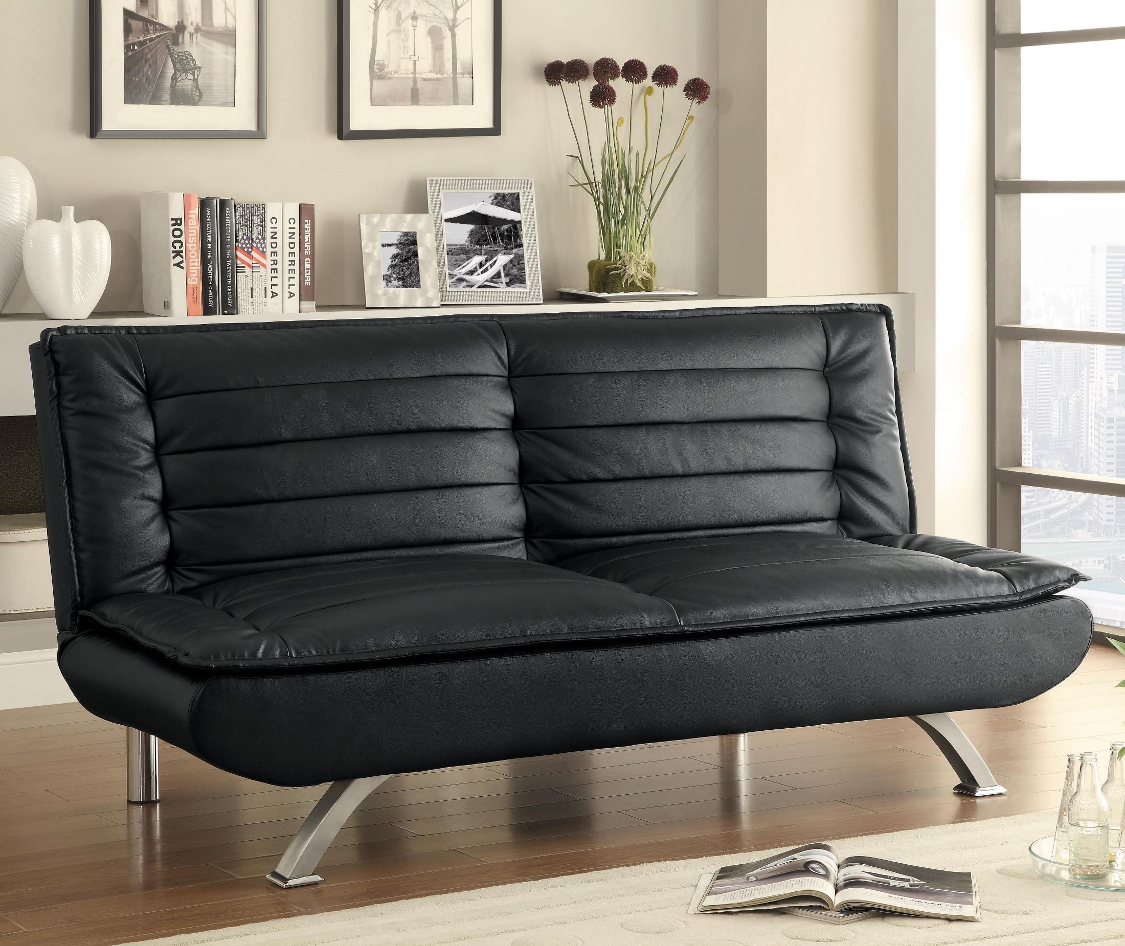 500055 black leatherette sofa bed from coaster 500055 for Black sofa bed