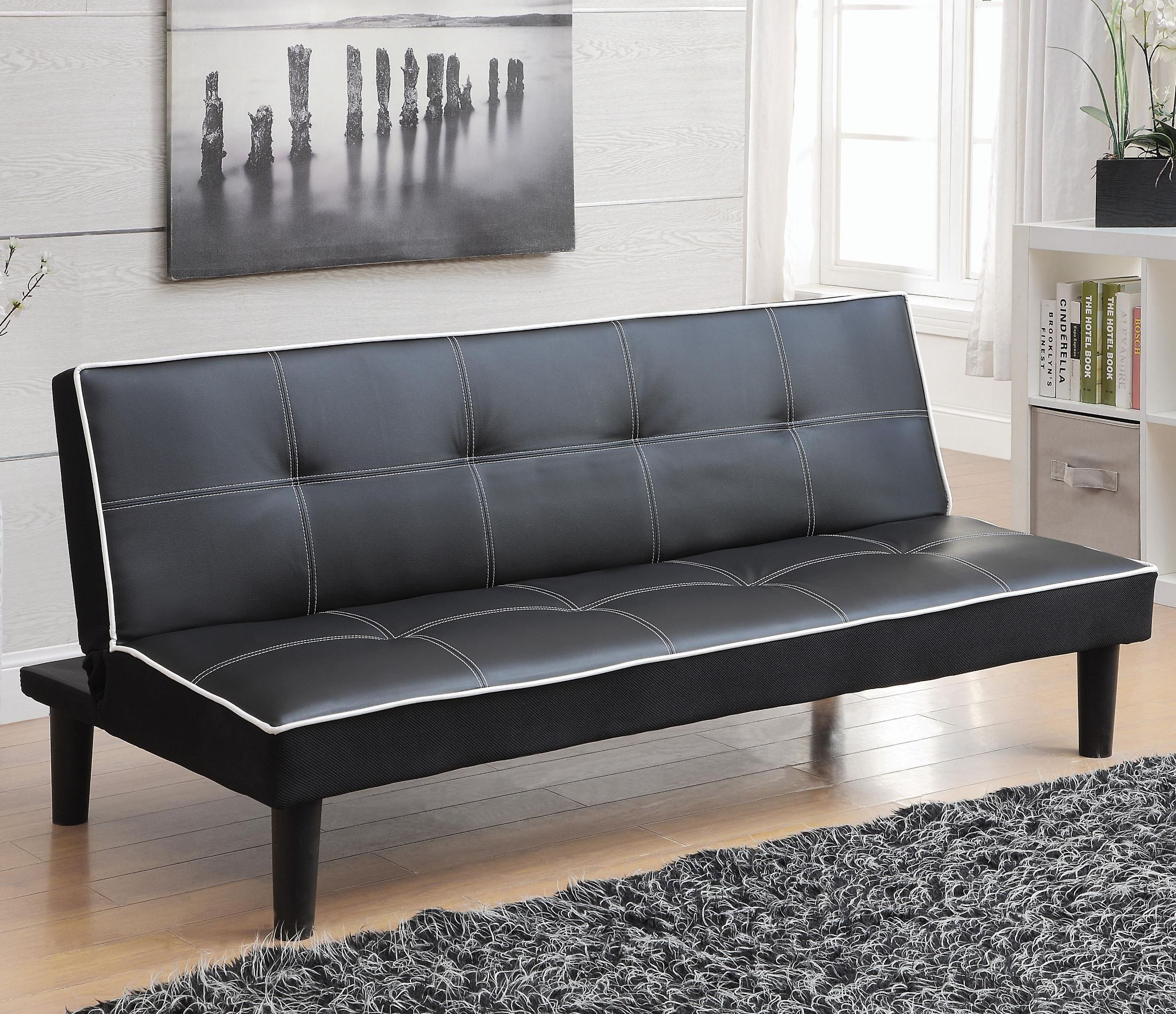 550044 black leatherette sofa bed from coaster 550044 for Black sofa bed