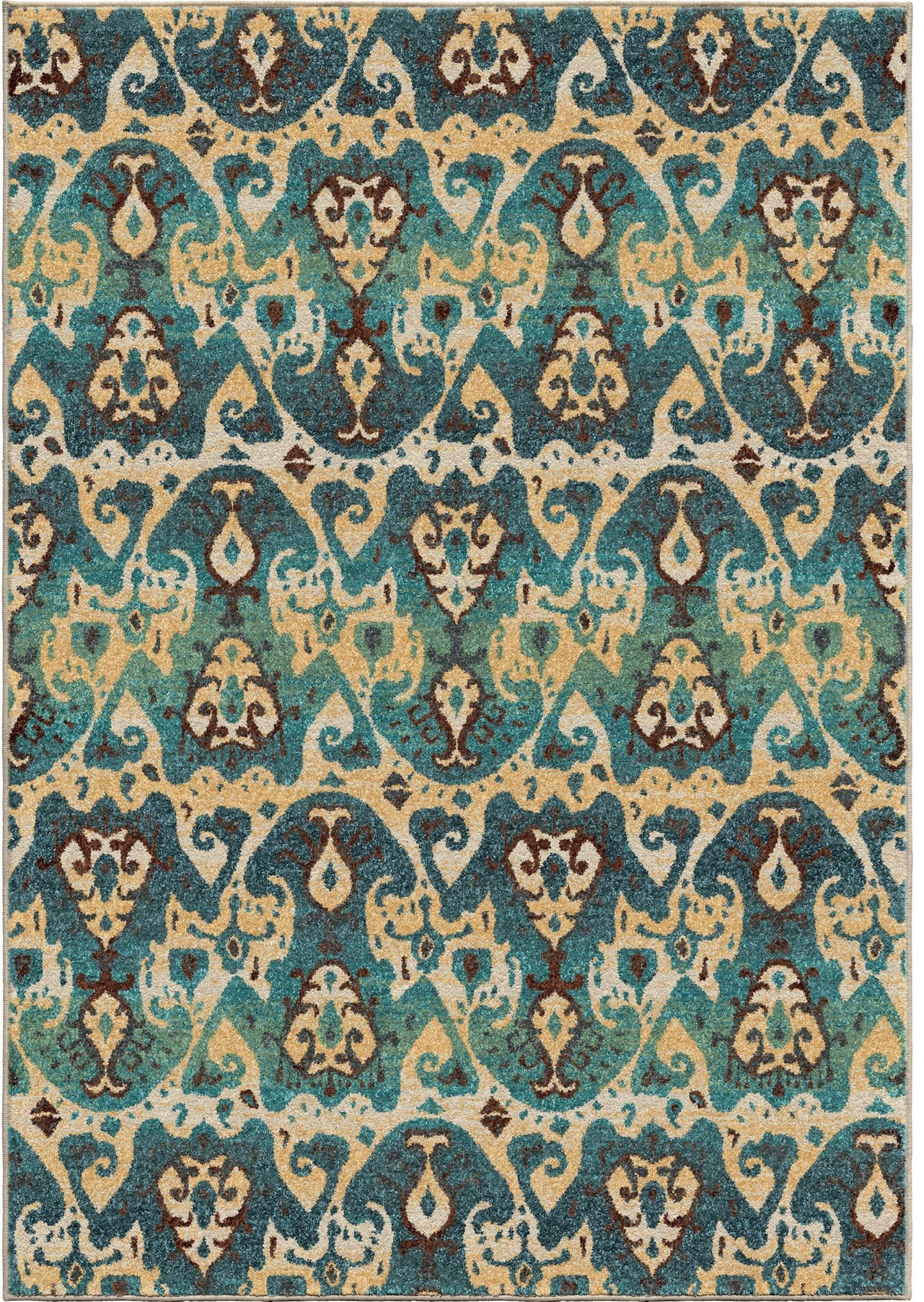 Spoleto bright color aztec turkman blue small area rug for Bright blue area rug