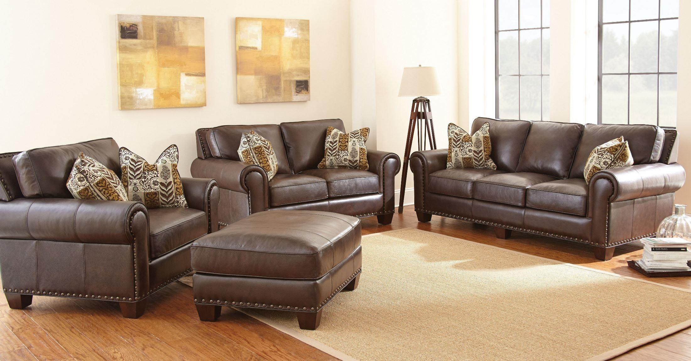 Escher Top Grain Leather Sofa With 2 Accent Pillows