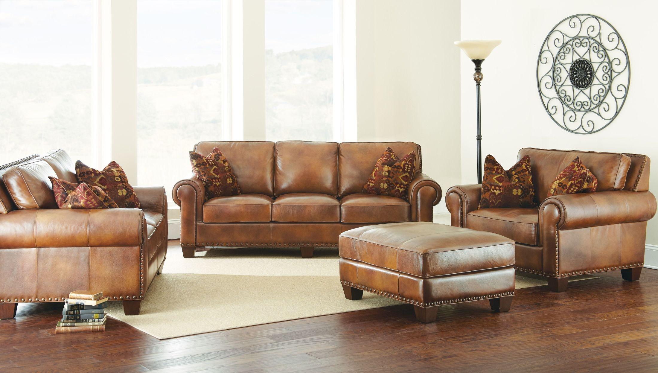 Silverado Caramel Brown Living Room Set from