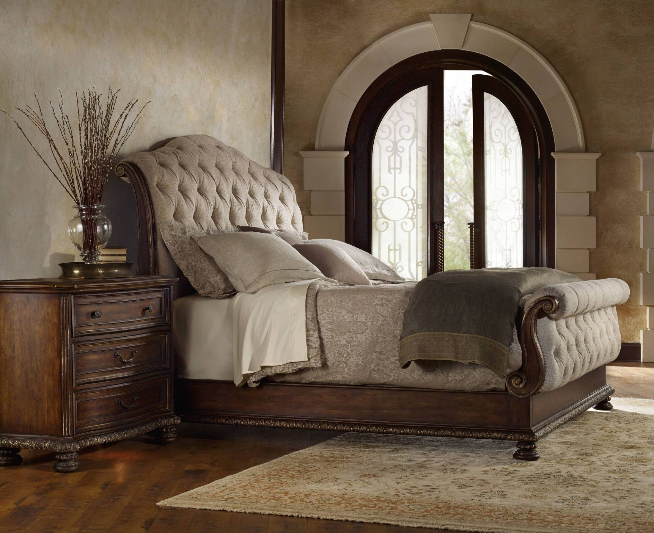 Adagio Dark Wood Tufted King Upholstered Sleigh Bed From