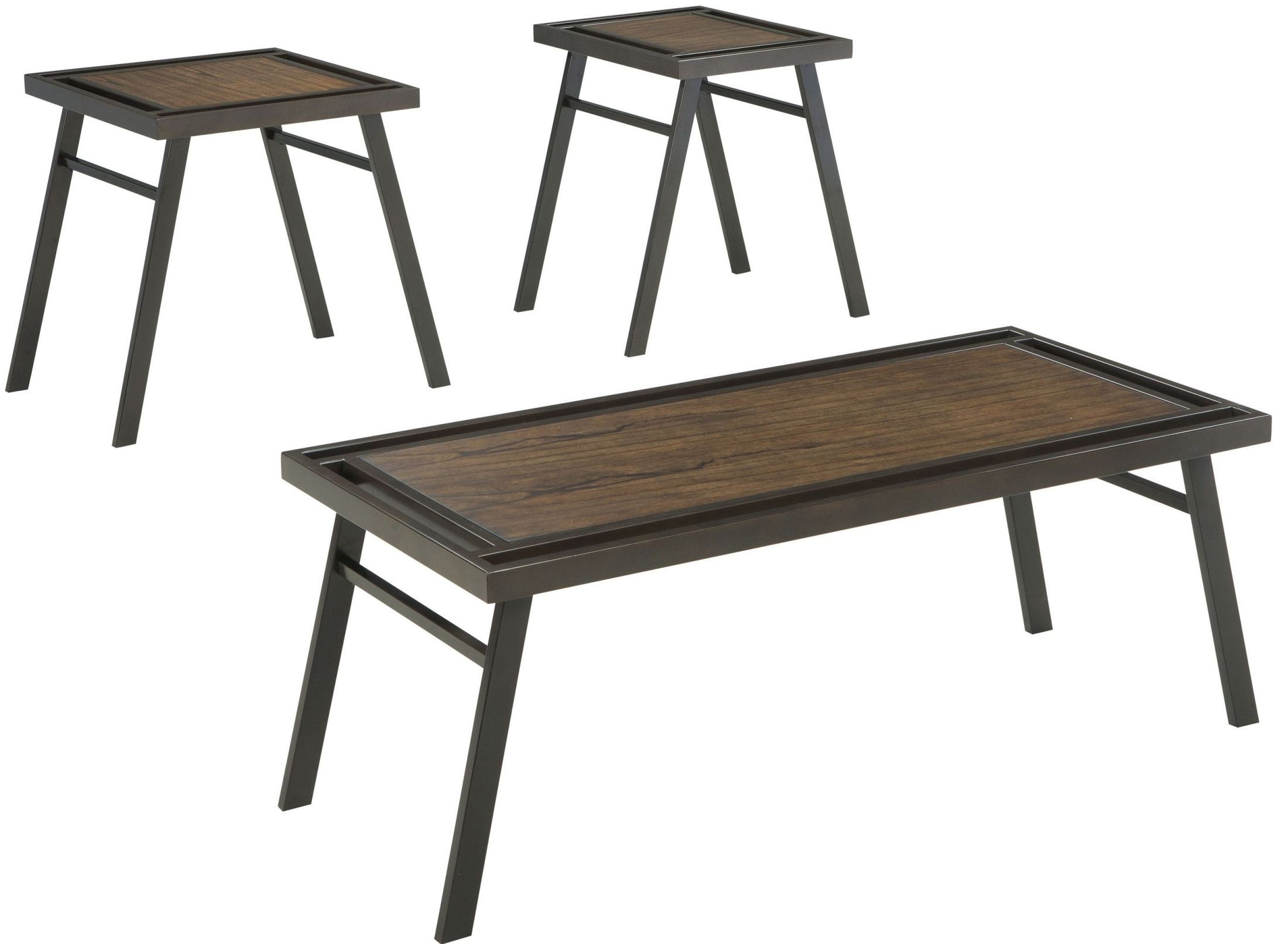 Farna brown 3 piece occasional table set from ashley for Occasional table manufacturers