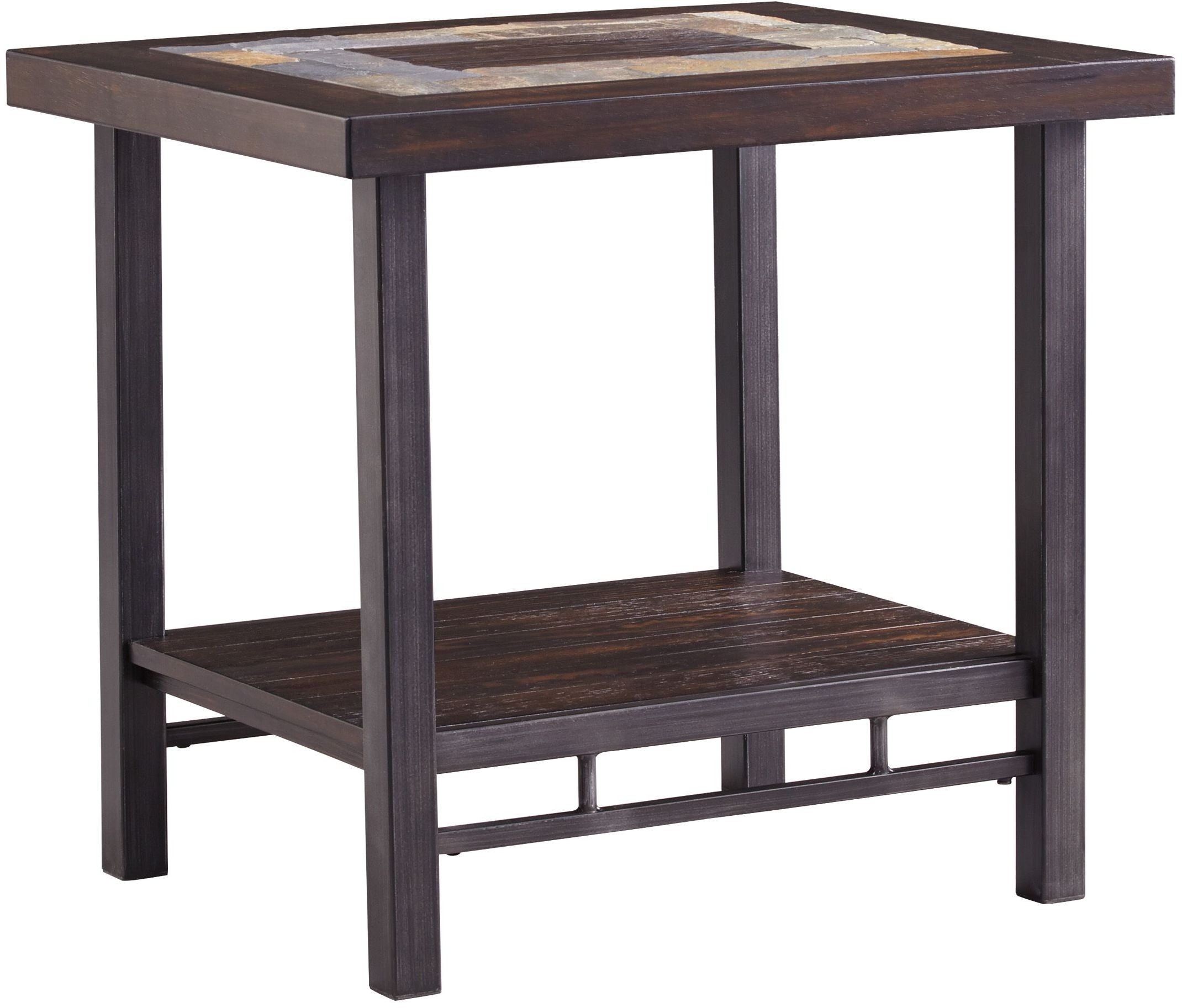Gallivan Two Tone Brown Rectangular End Table