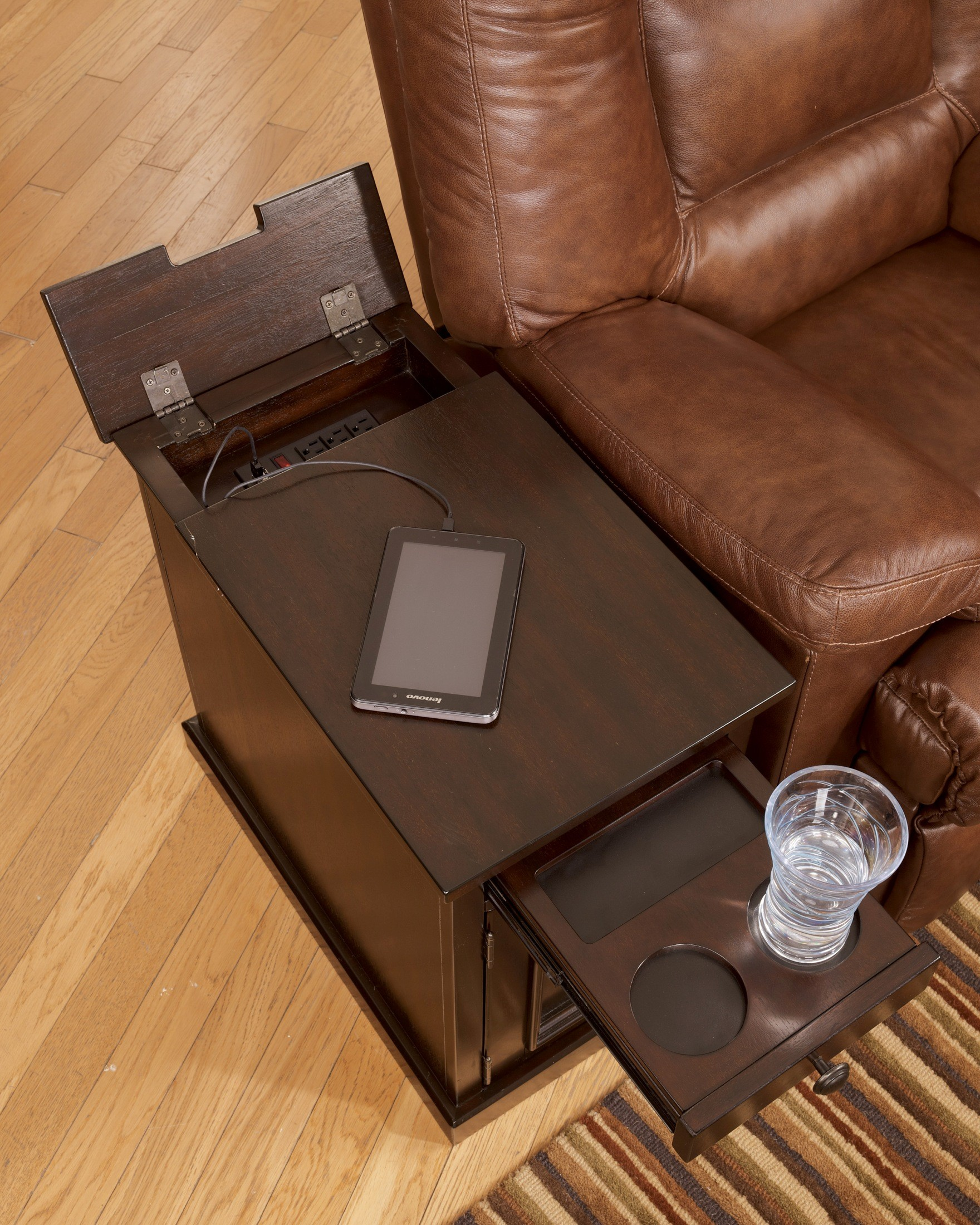 Dark Brown Power Chairside End Table From Ashley T127 551
