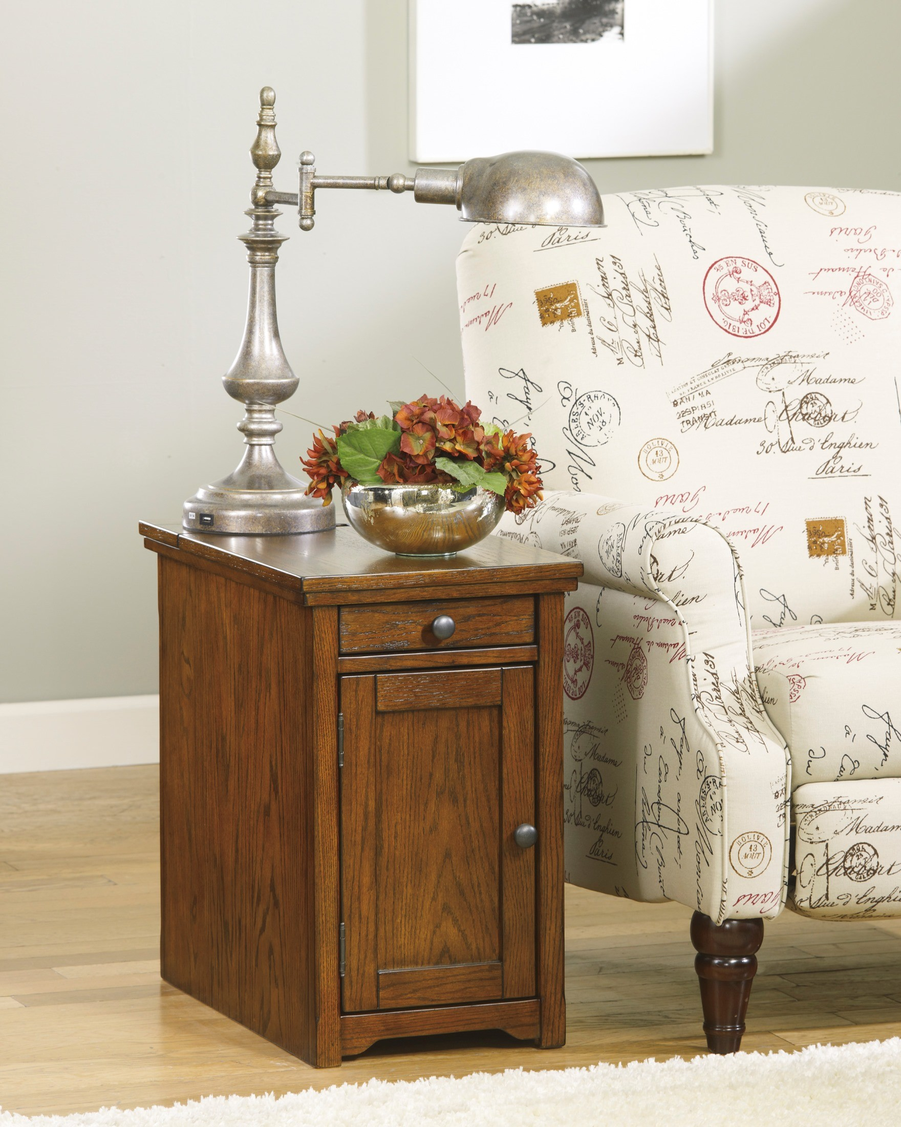 Brown Power Chair Side End Table From Ashley (T127-699