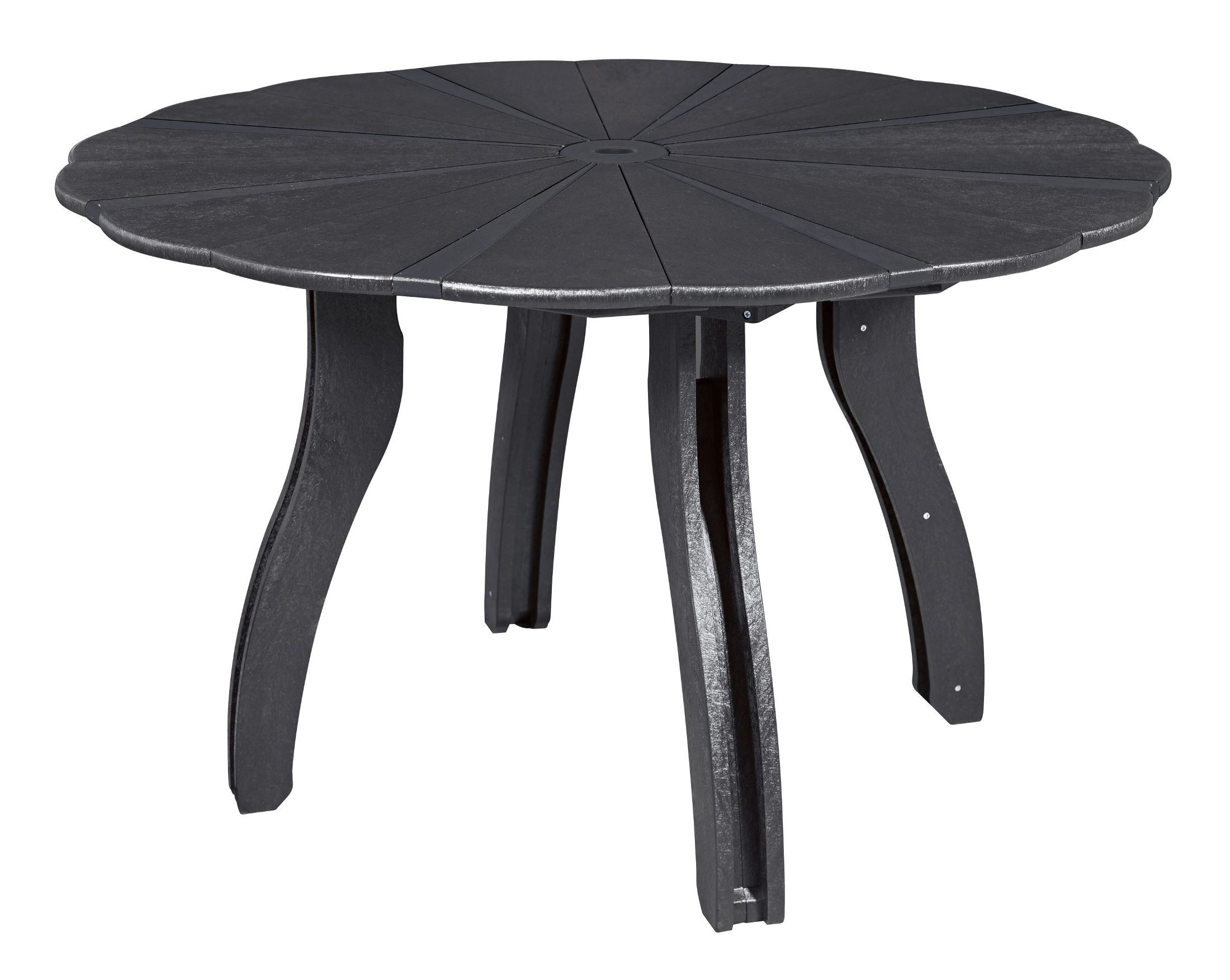 Generations black 52 scalloped round dining table from cr for Table 52 pictures
