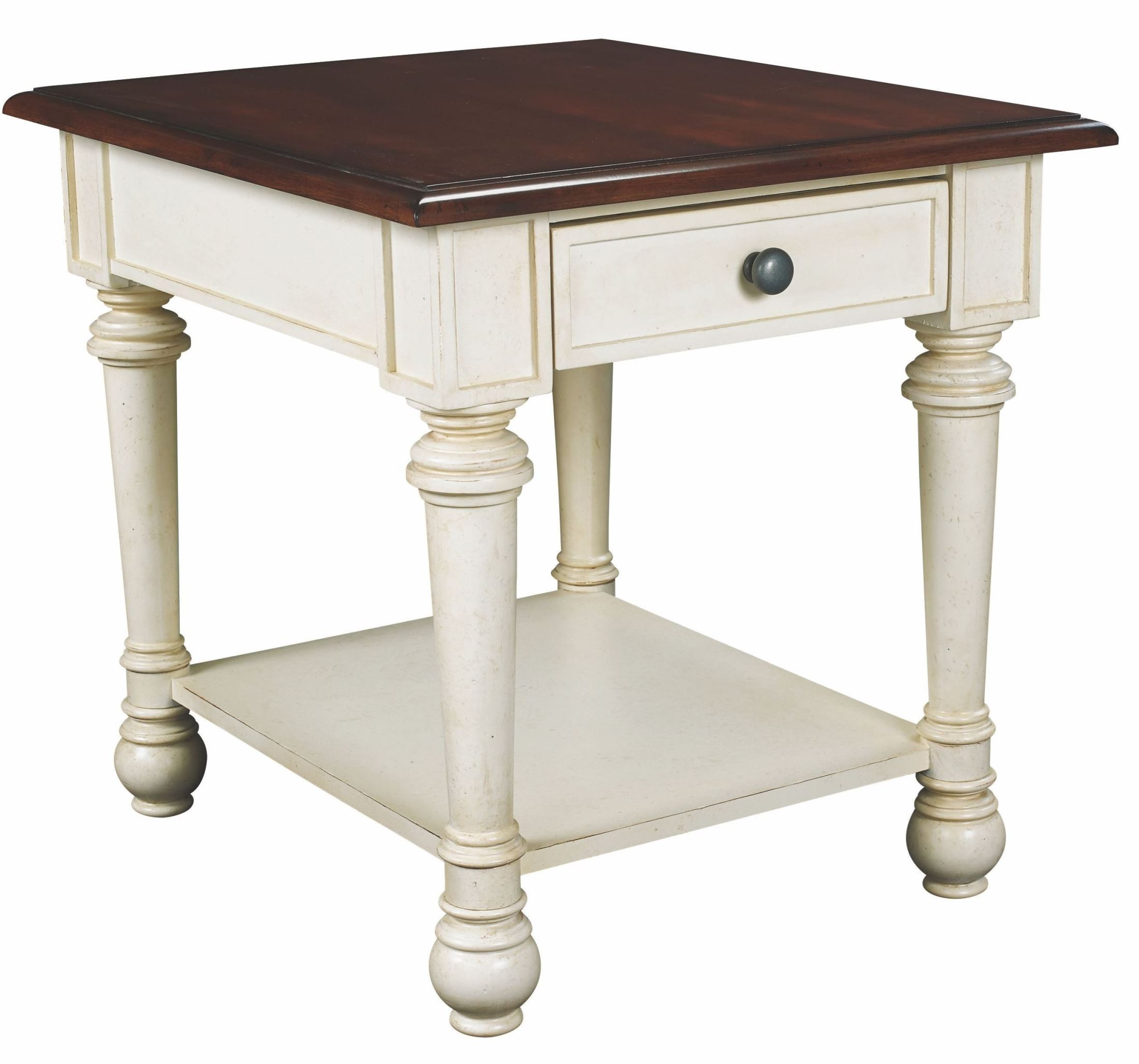 Promenade Antique Linen Rectangular Drawer End Table From