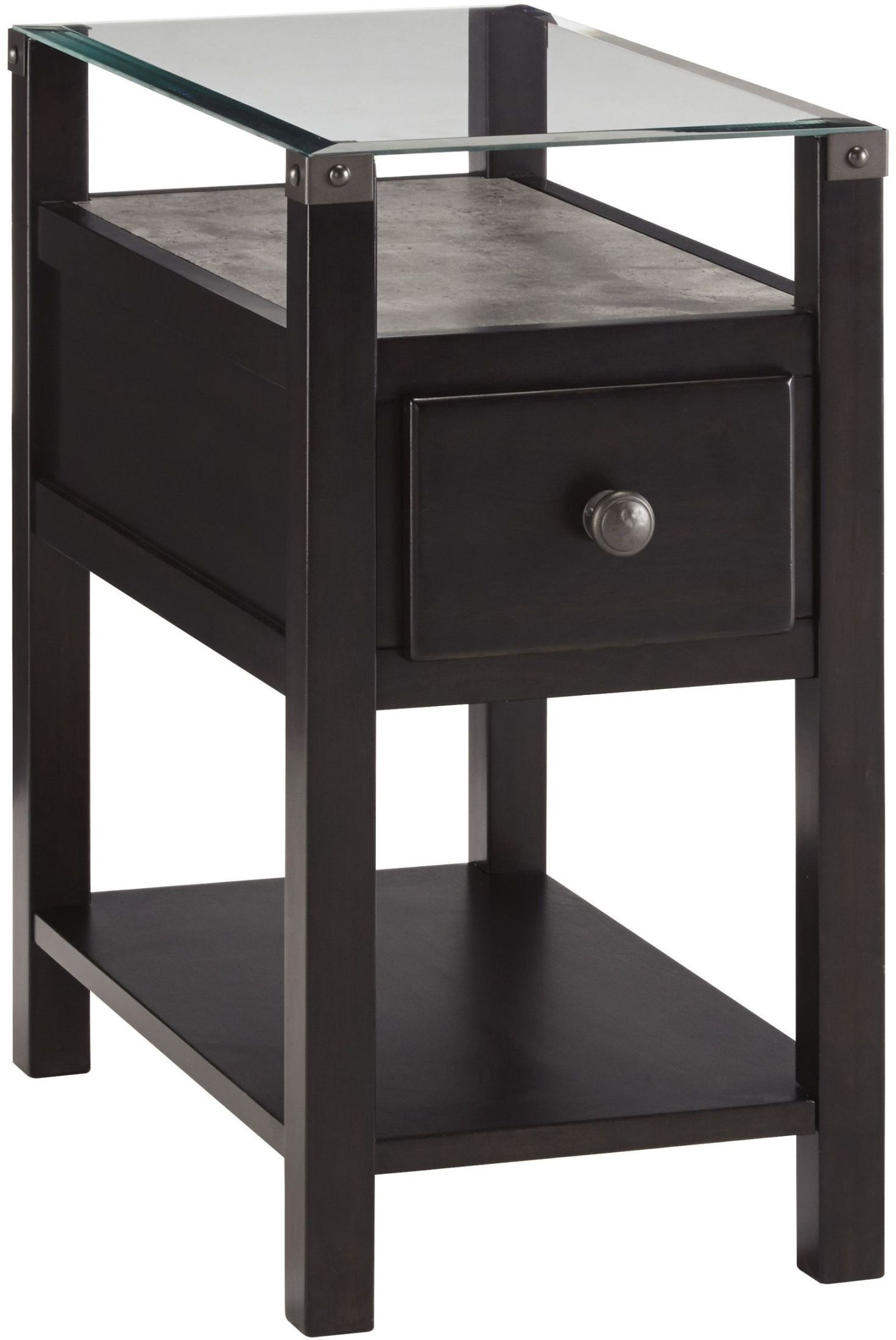 Diamenton Almost Black Drawer Chair Side End Table From