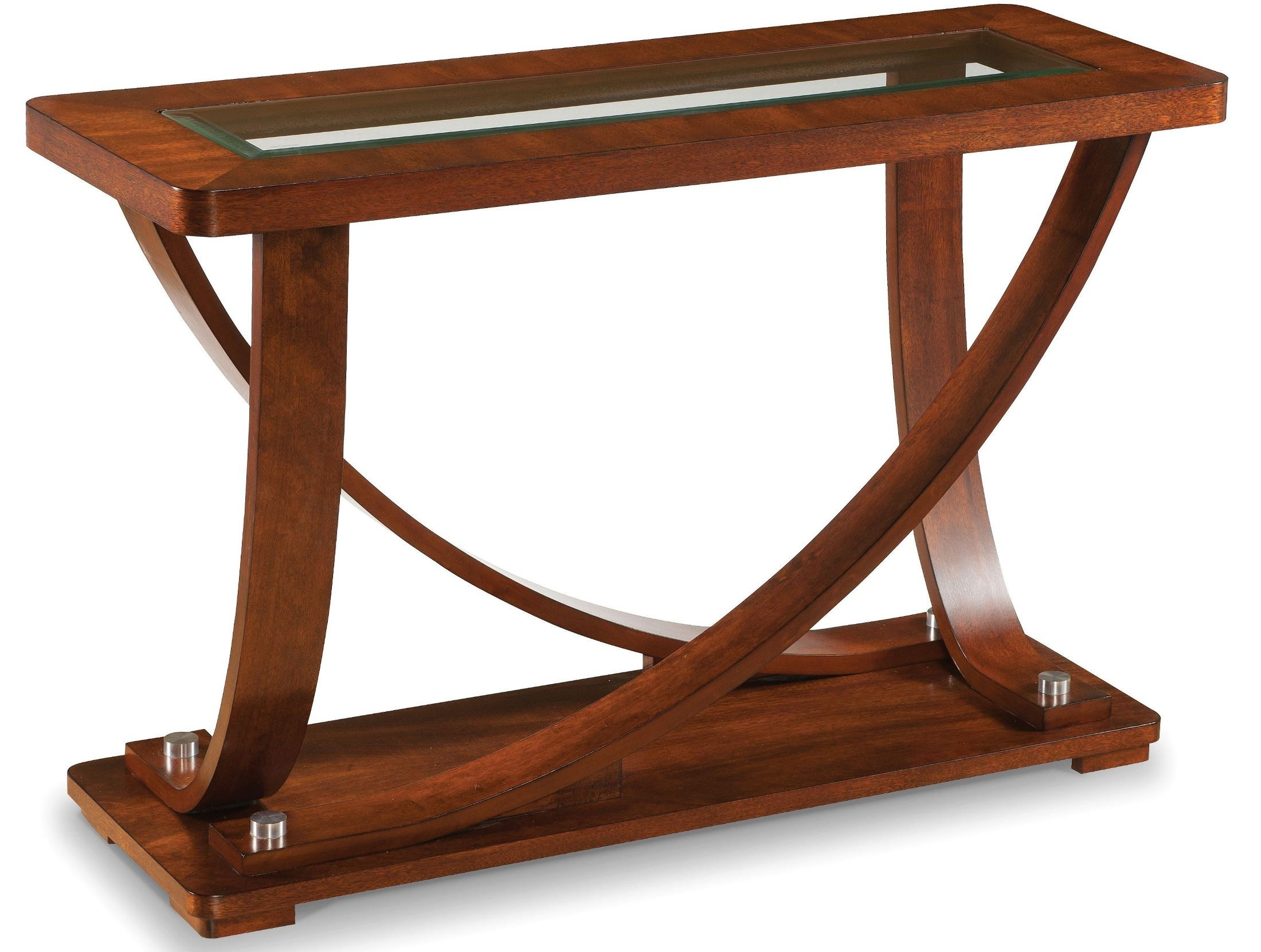 Pavilion Medium Brown Wood Rectangular Sofa Table From