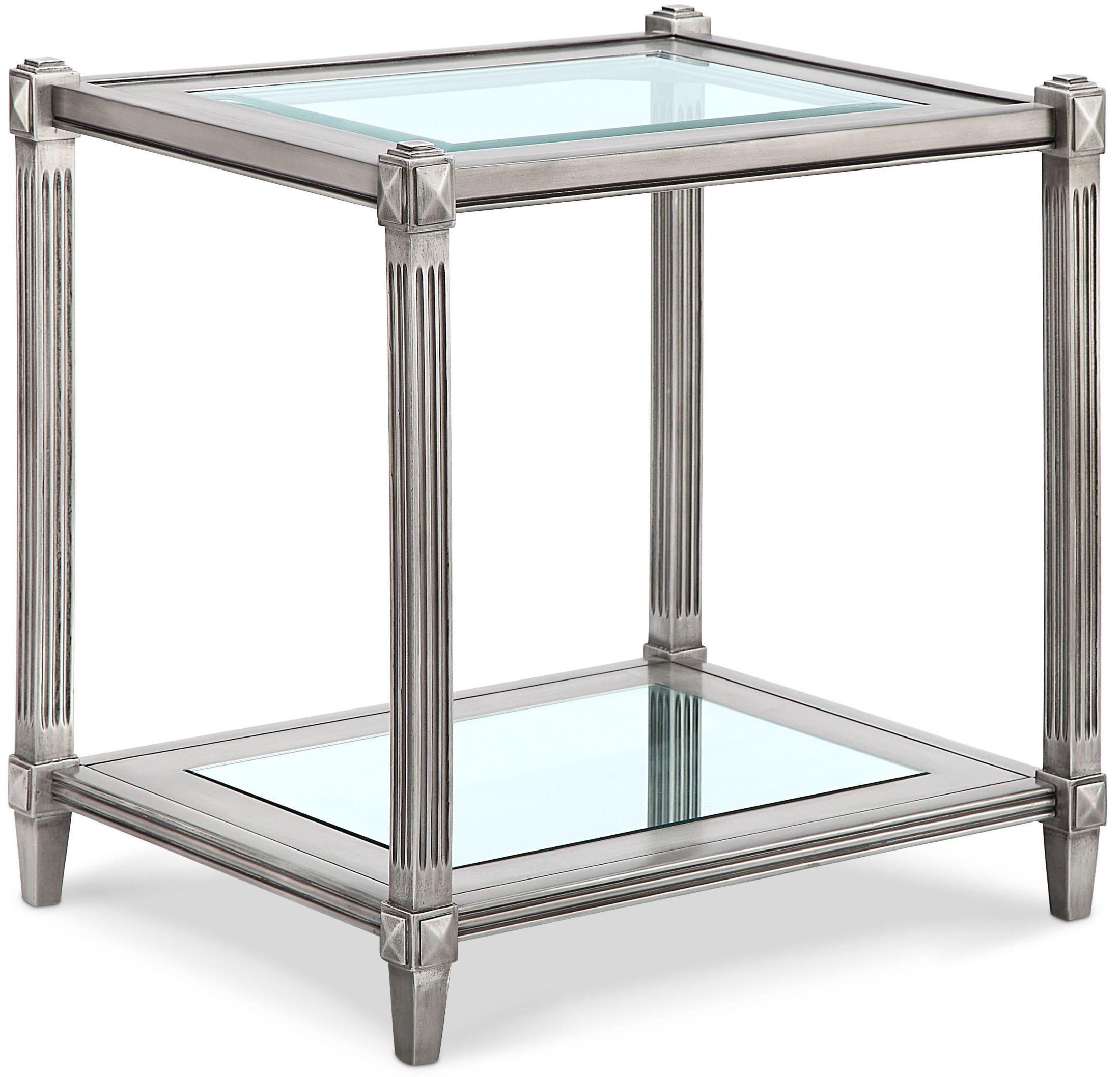 Platinum Metallic Silver Rectangular End Table