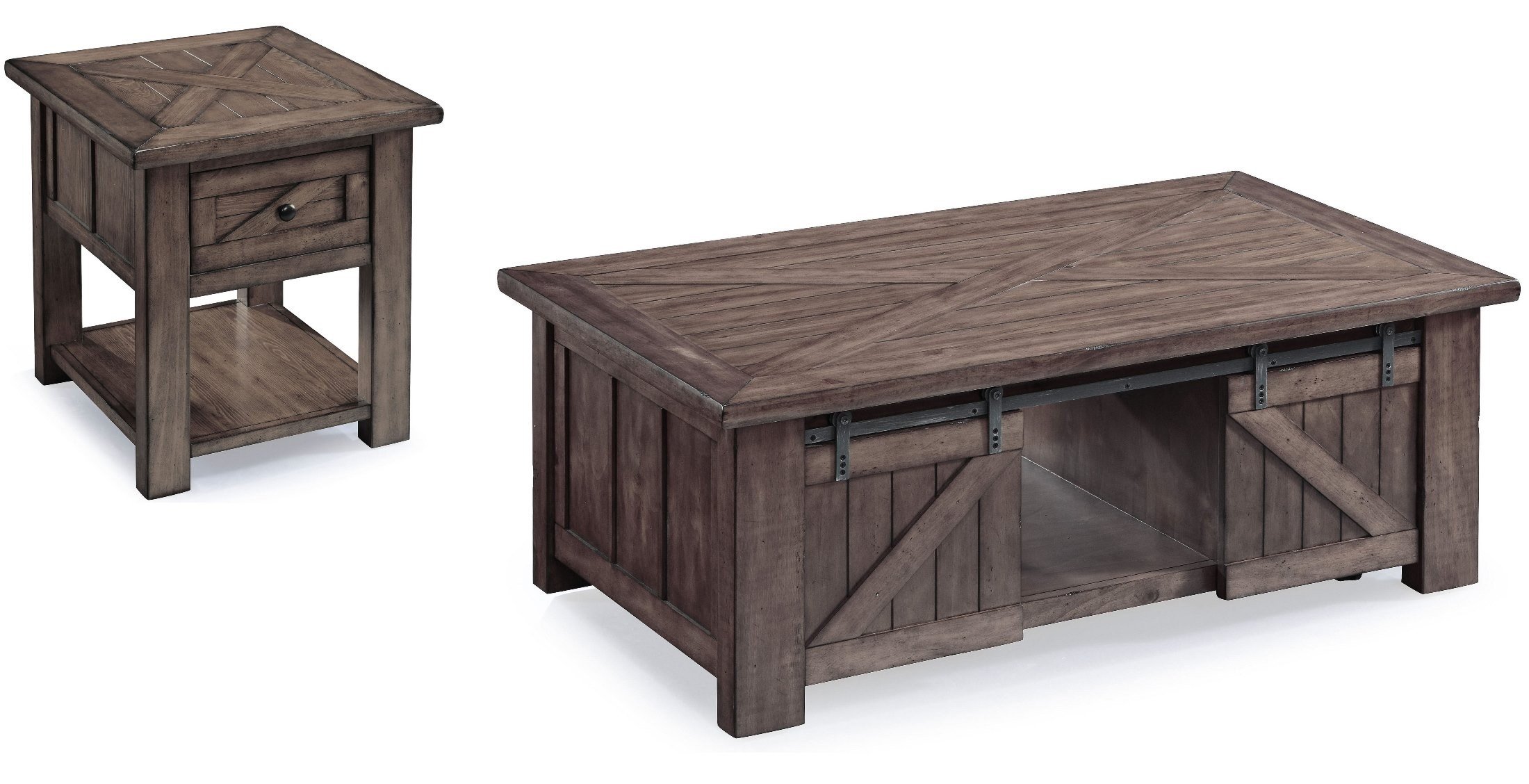 Charming Garrett Weathered Charcoal Wood Occasional Table Set