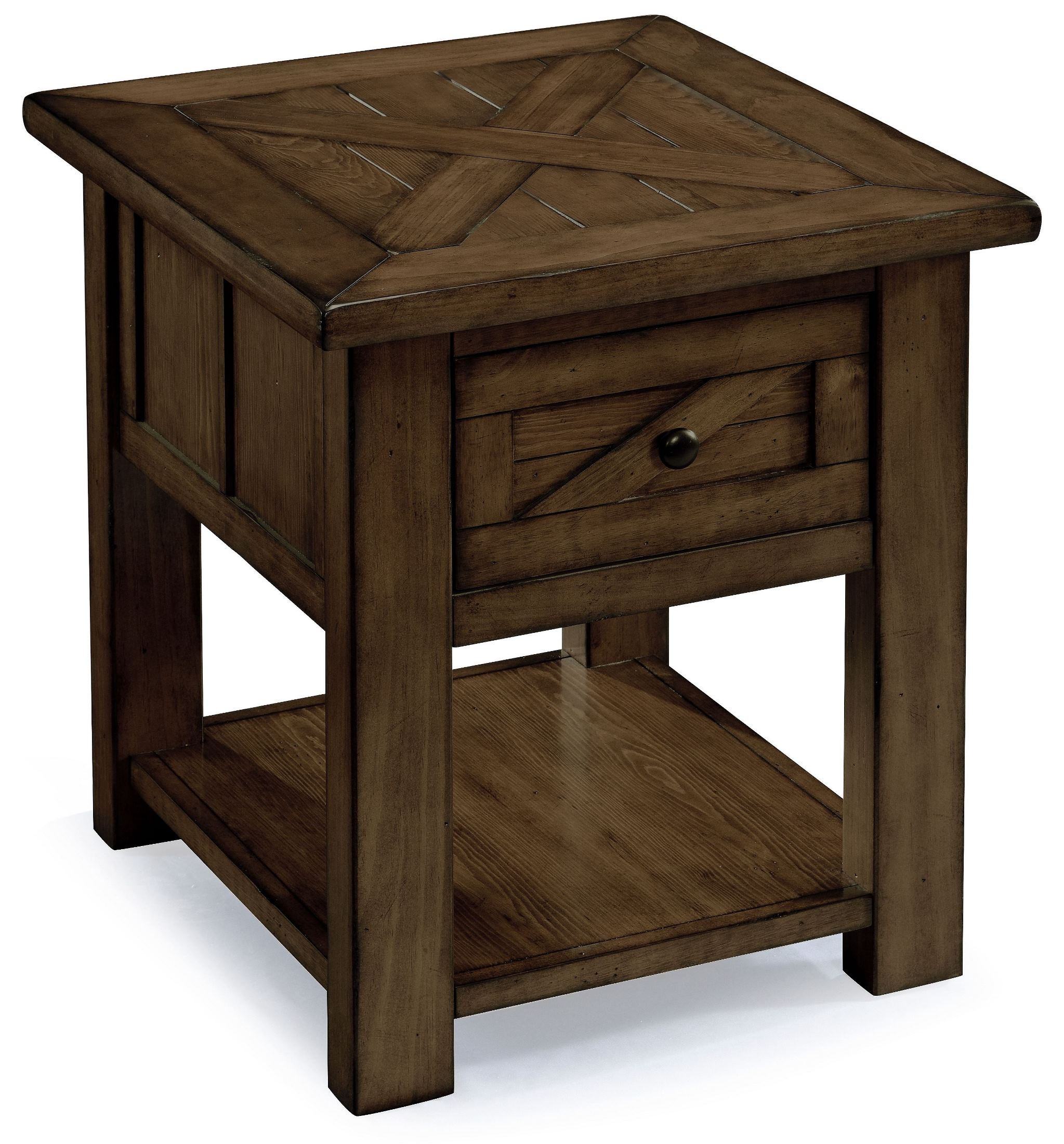 Fraser Rustic Pine Wood Rectangular End Table From