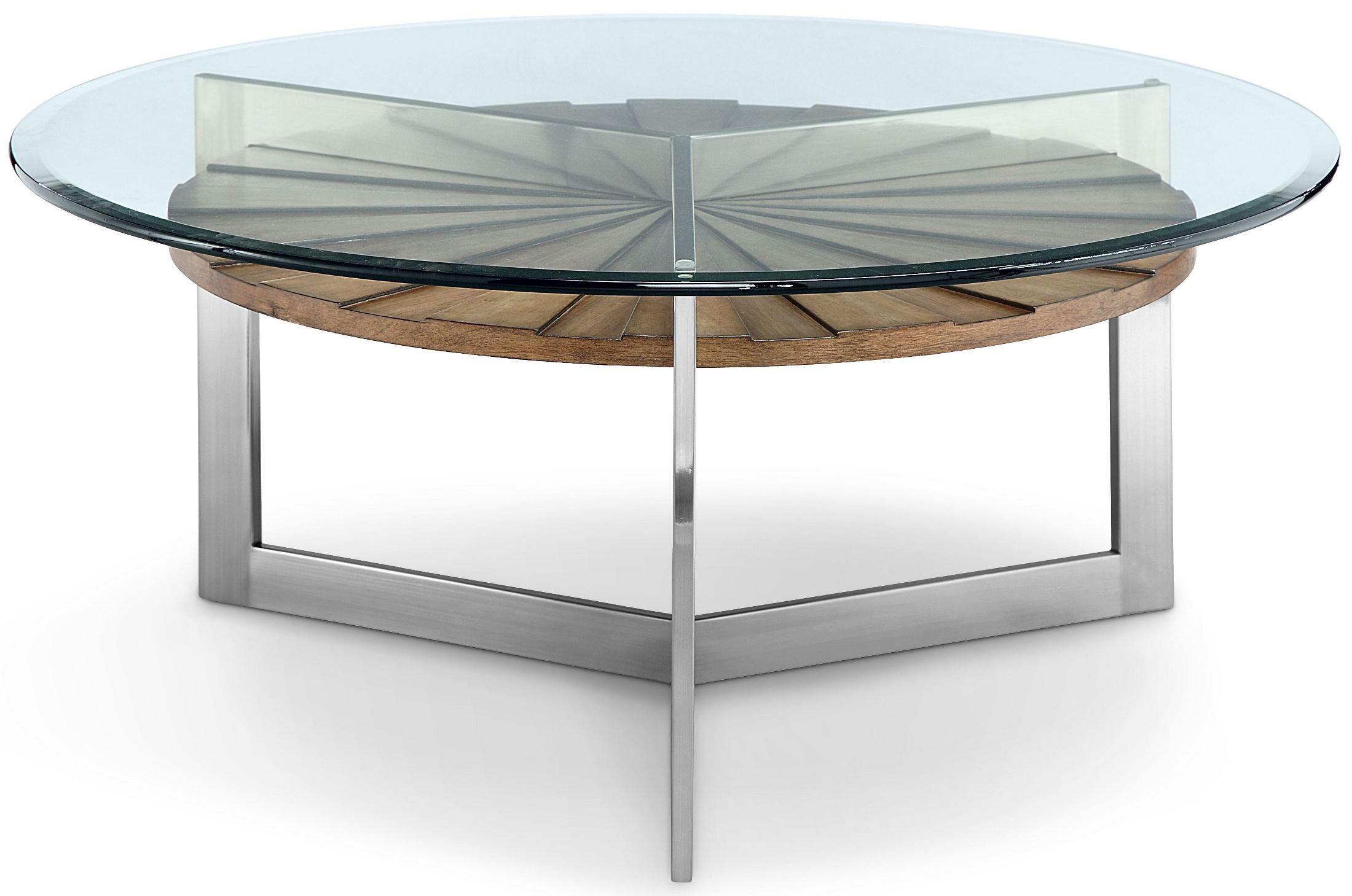 Rialto toffee and brushed nickel round cocktail table from for Brushed nickel coffee table