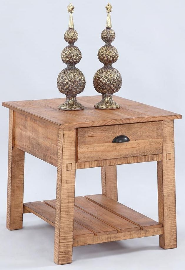 Willow Distressed Pine Rectangular End Table From