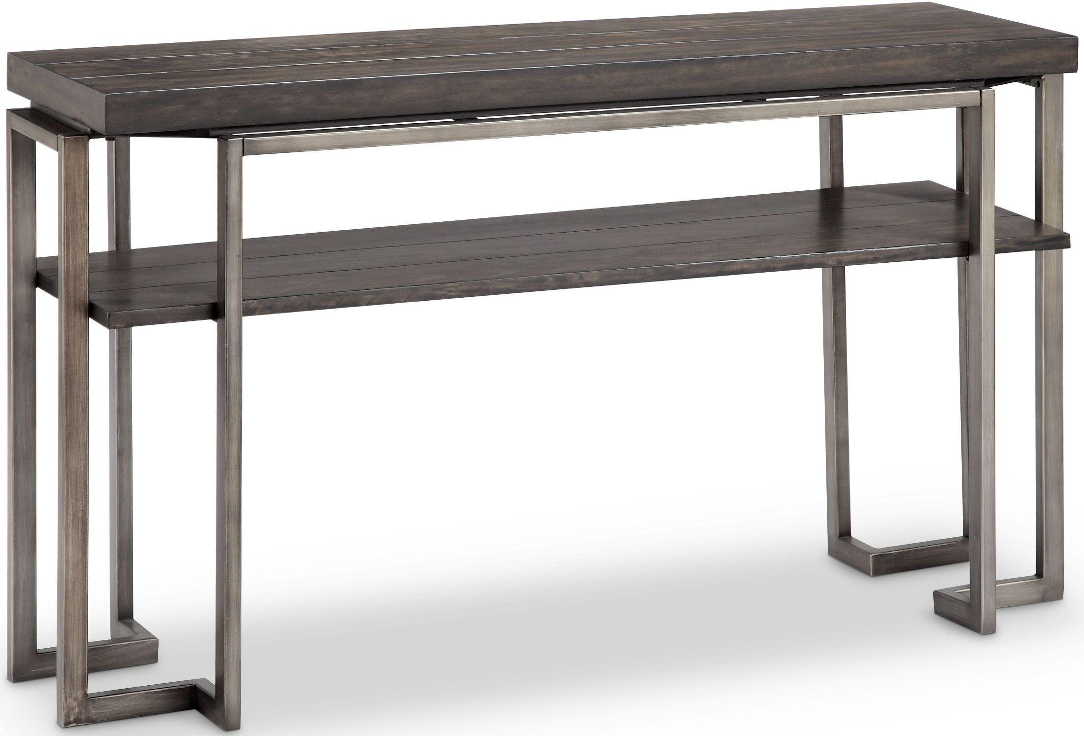 Millbourne burnished caramel metal rectangular sofa table for Sofa table metal