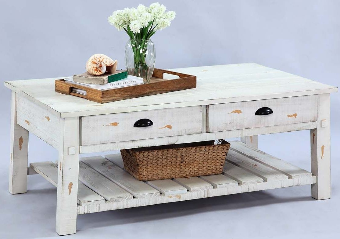 Willow Distressed White Rectangular Cocktail Table From