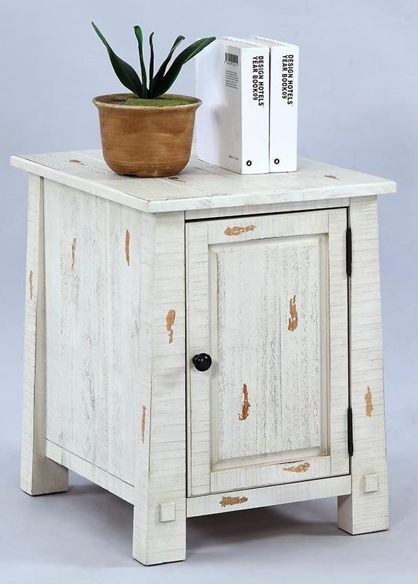 Willow Distressed White Slat Bedroom Set: Willow Distressed White Chairside Cabinet From Progressive