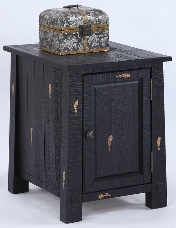 Willow Distressed Black Chairside Cabinet From Progressive