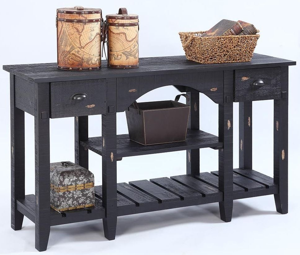 Willow Distressed Black Console Table From Progressive