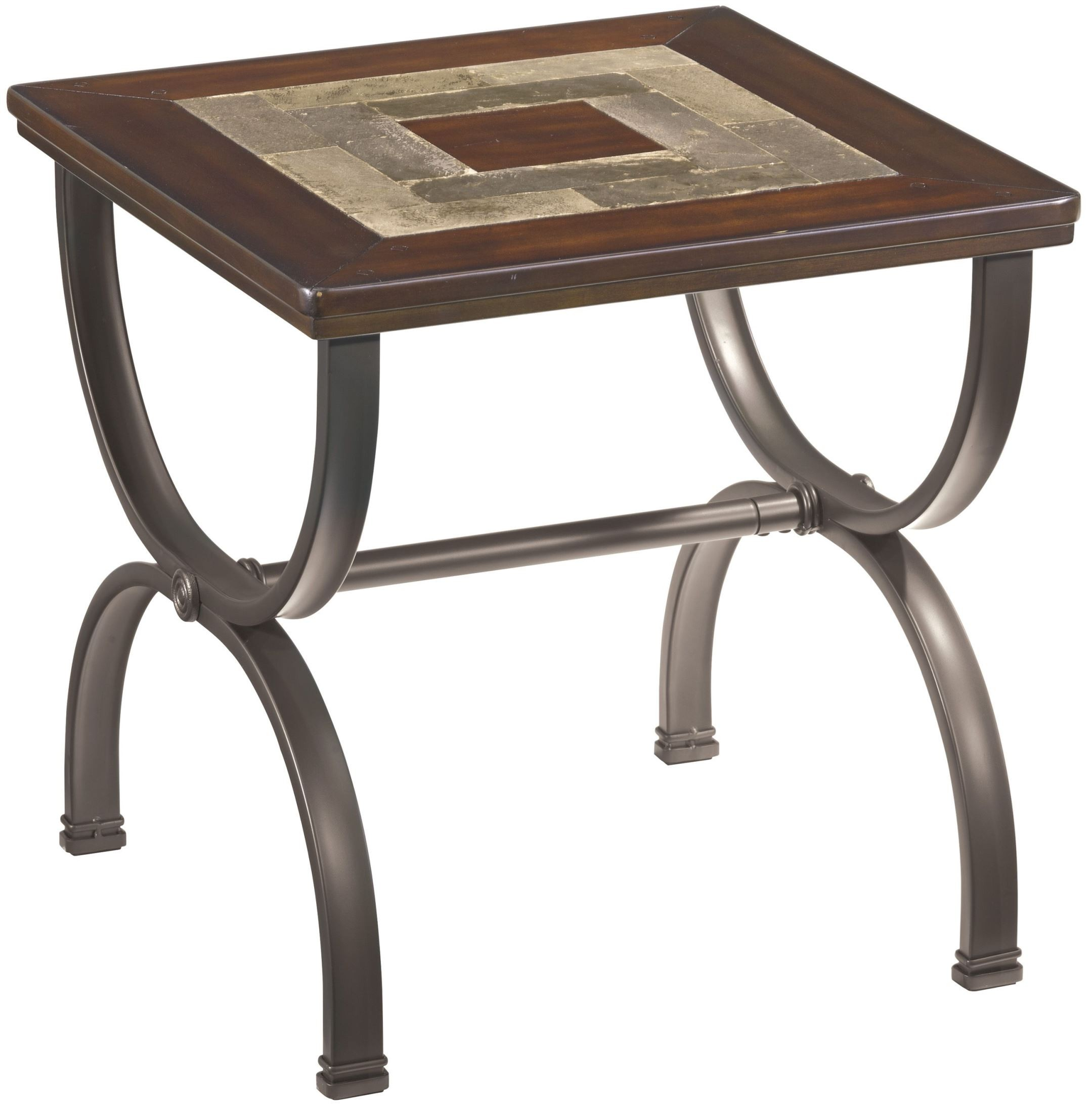 Zander square end table from ashley t415 2 coleman for Square end table