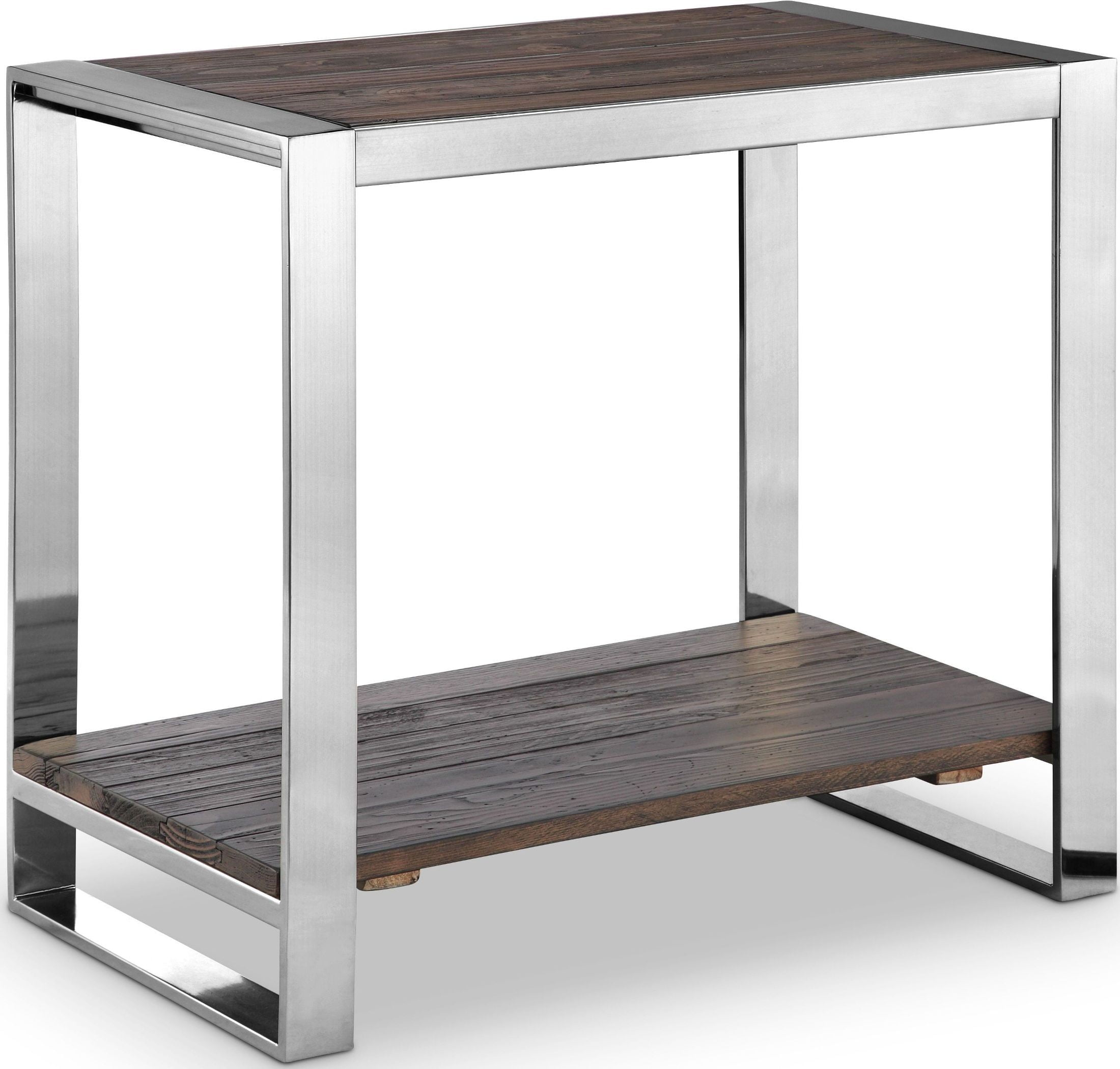 Lawson Burnished Whiskey And Brushed Nickel Chairside End Table