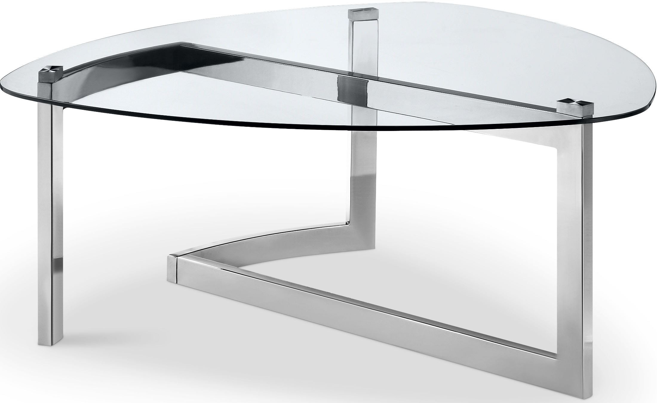 Aries Chrome Shaped Cocktail Table From Magnussen Home   Coleman Furniture