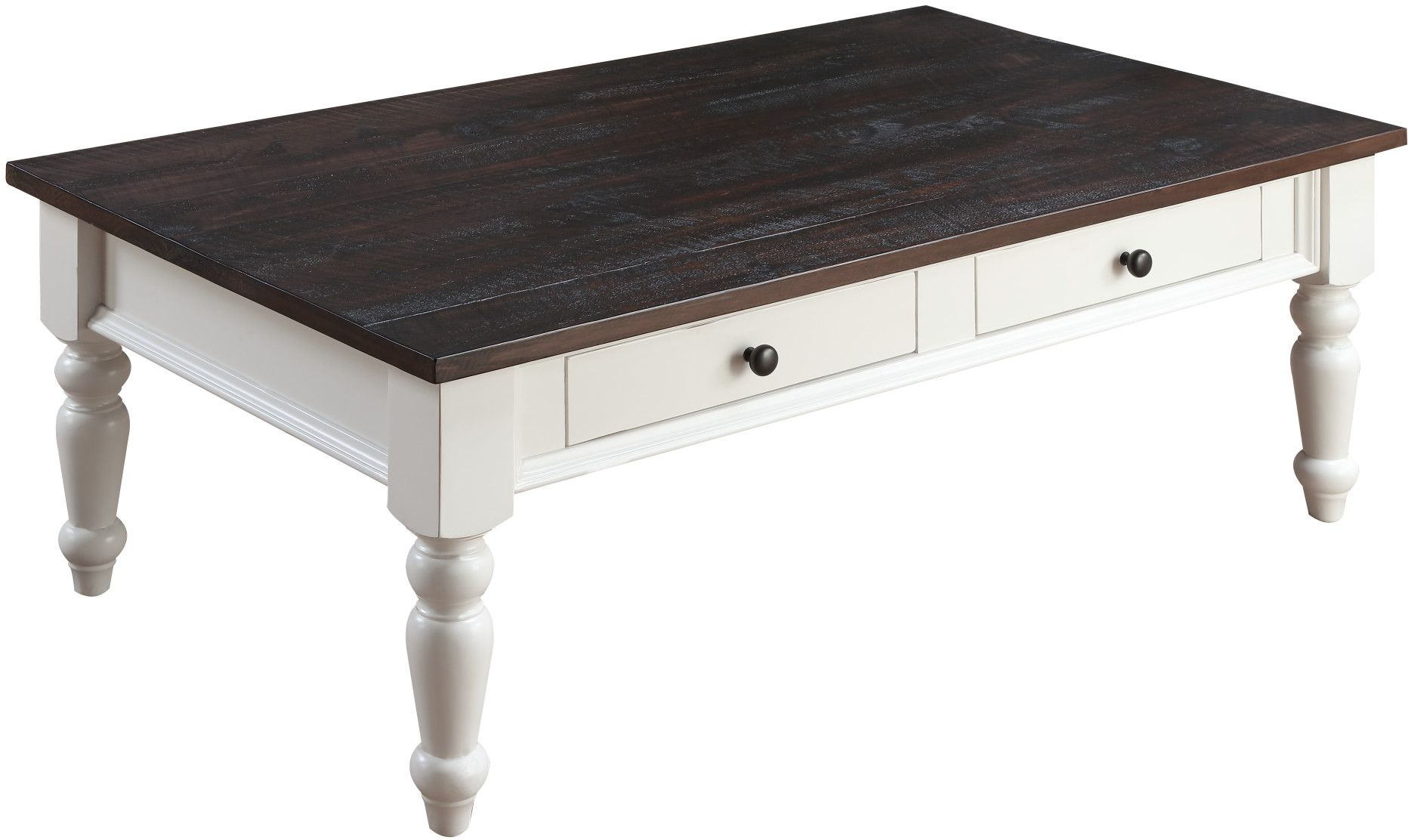 Mountain retreat brown and white 2 drawer cocktail table for White and brown coffee table