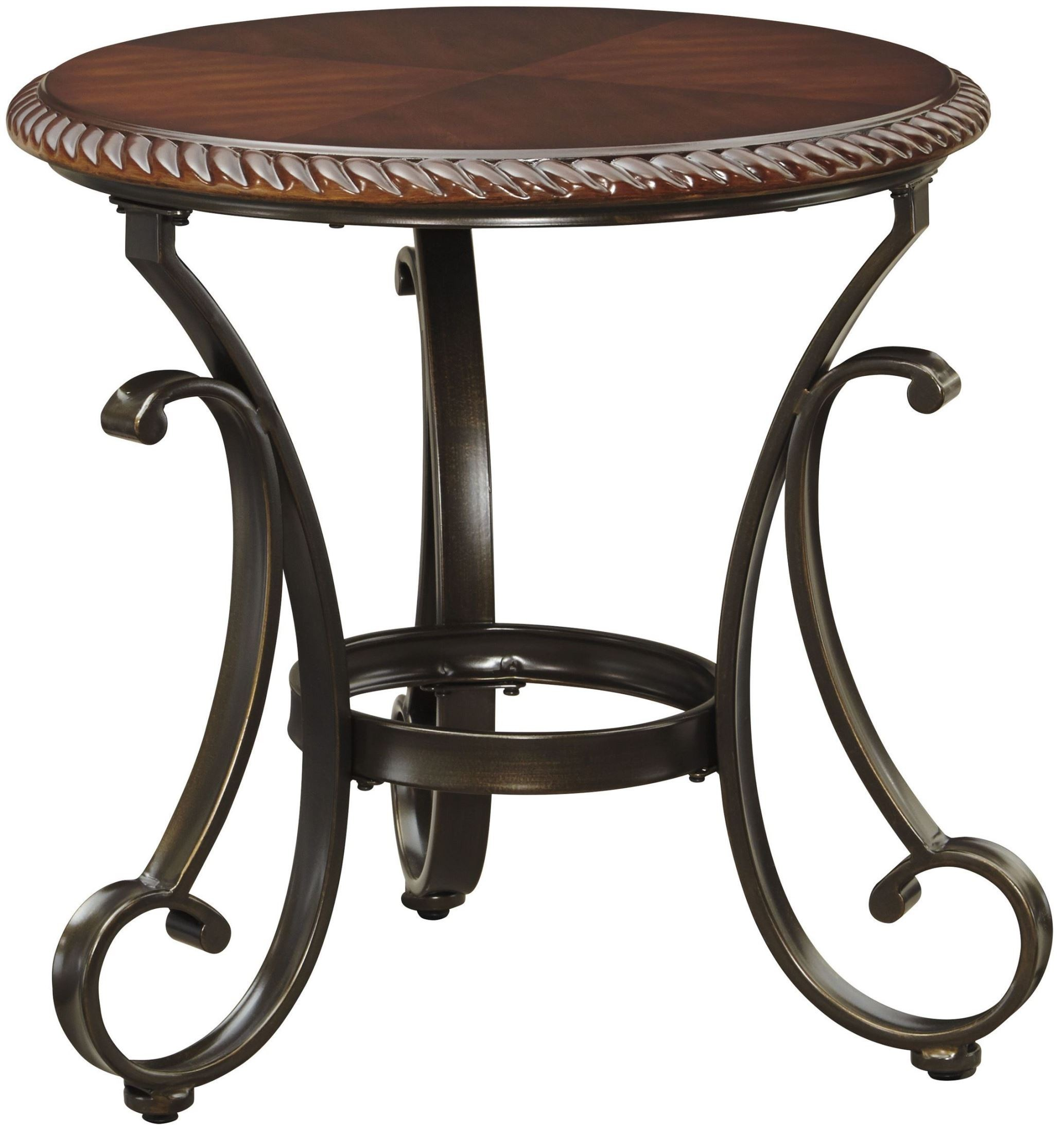 gambrey reddish brown round end table from ashley t626 6. Black Bedroom Furniture Sets. Home Design Ideas