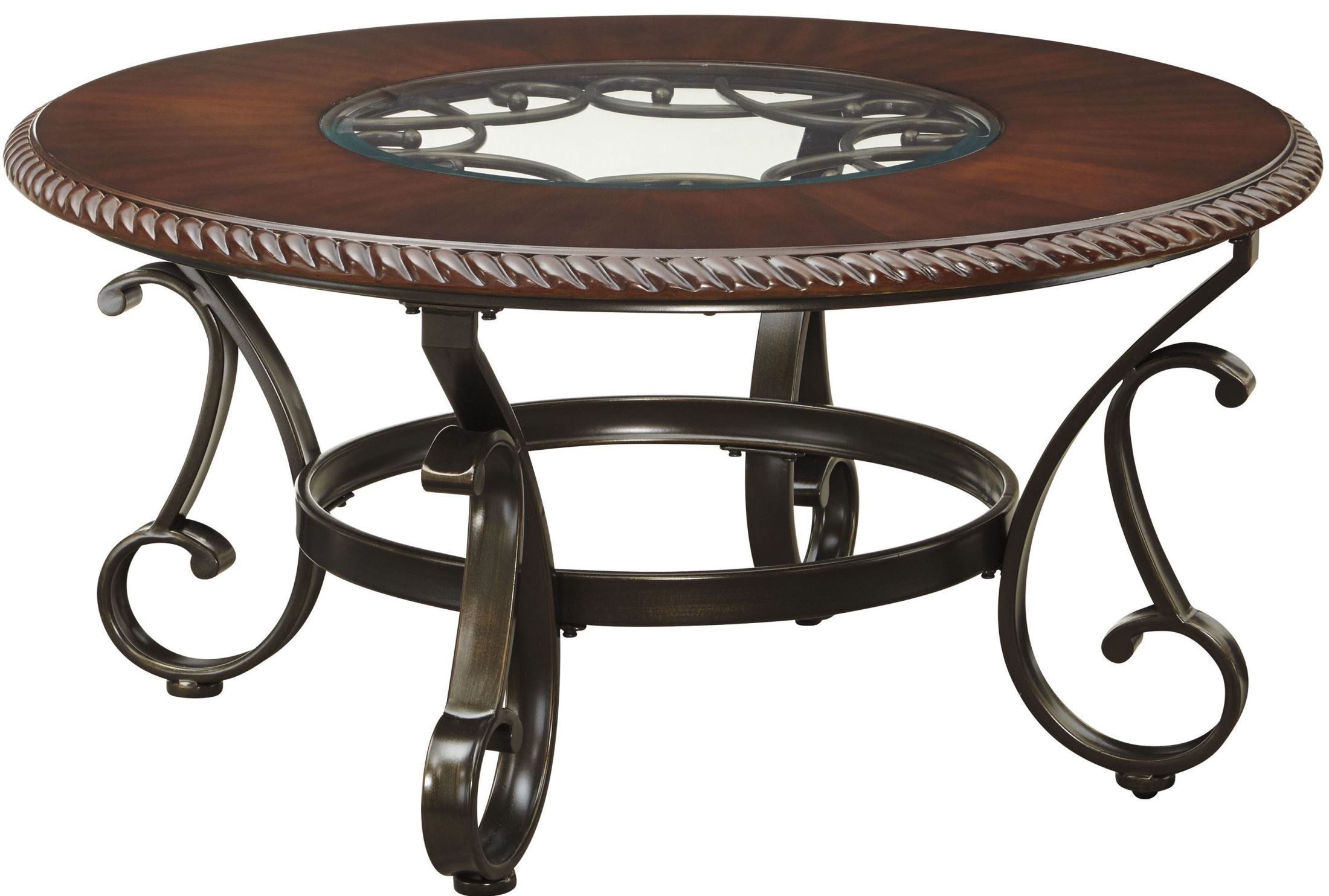 Gambrey Reddish Brown Round Cocktail Table From Ashley T626 8 Coleman Furniture