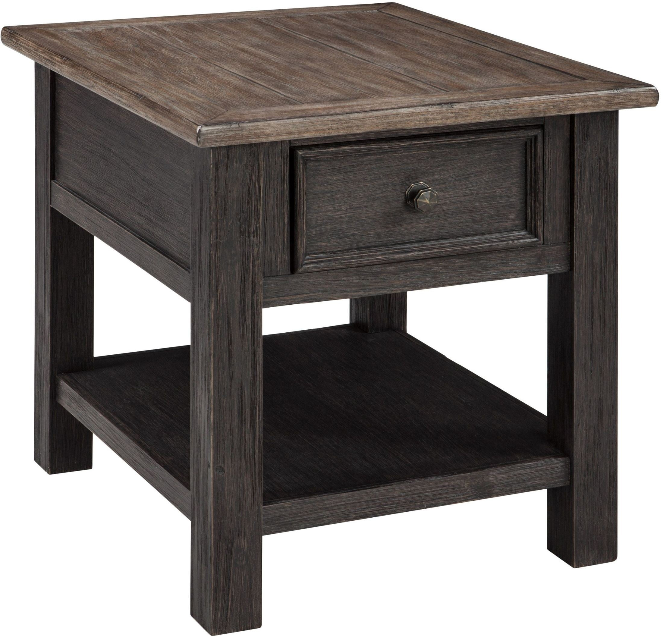 Tyler Creek Brown And Black Chairside End Table Signature